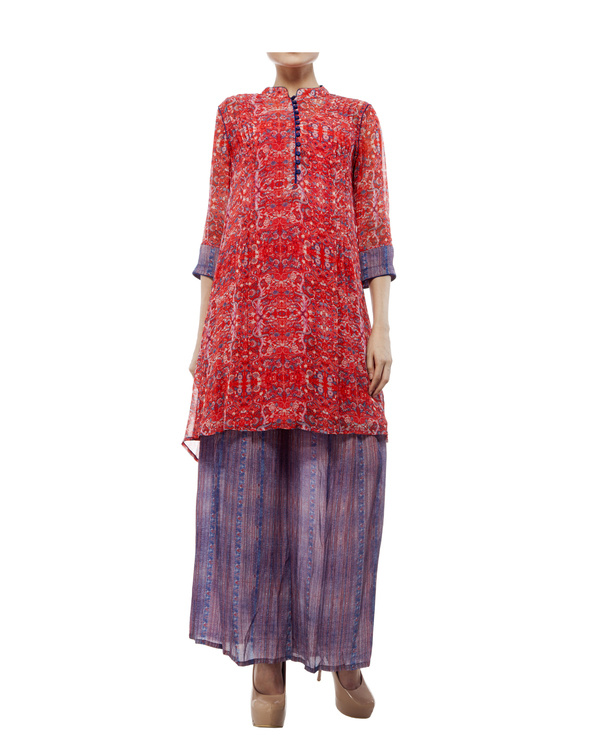 Printed tunic with printed palazzo