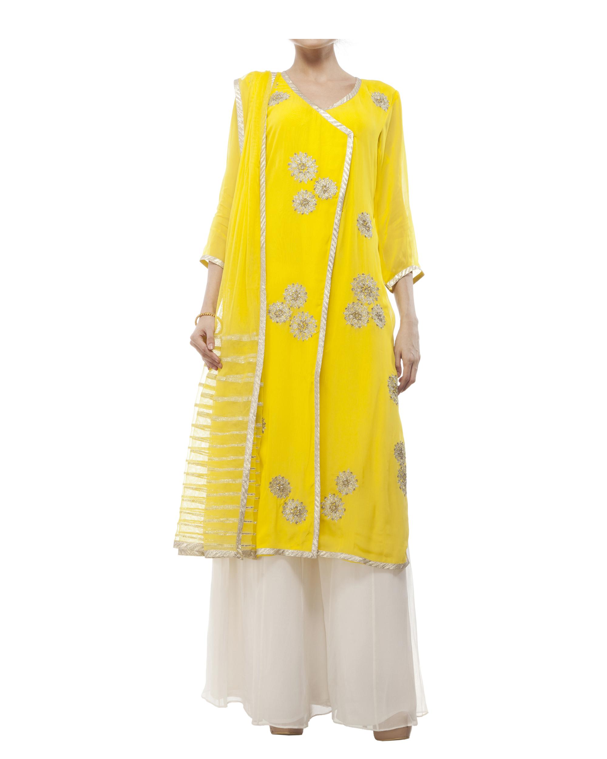 Yellow Embroidered Wrap kurta set