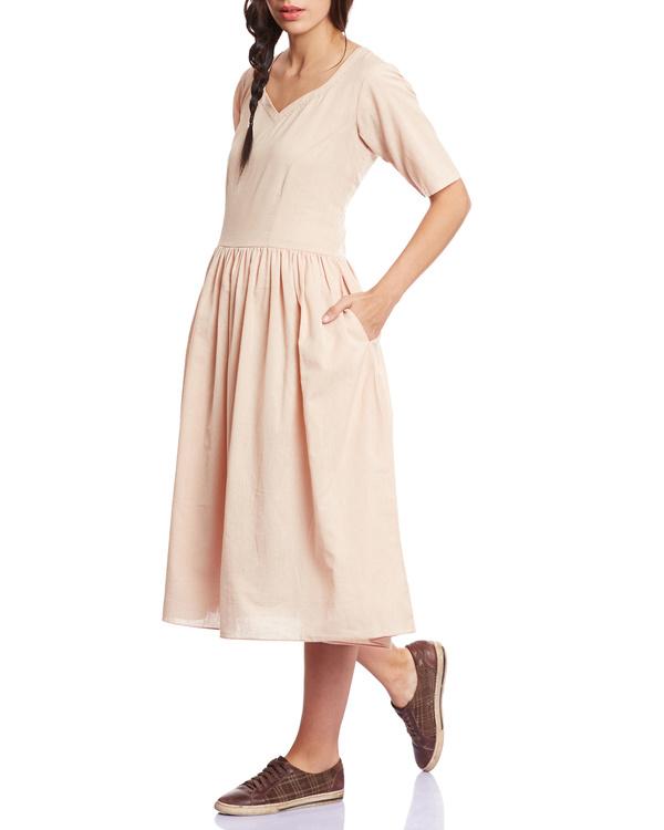 Beige gather detail dress
