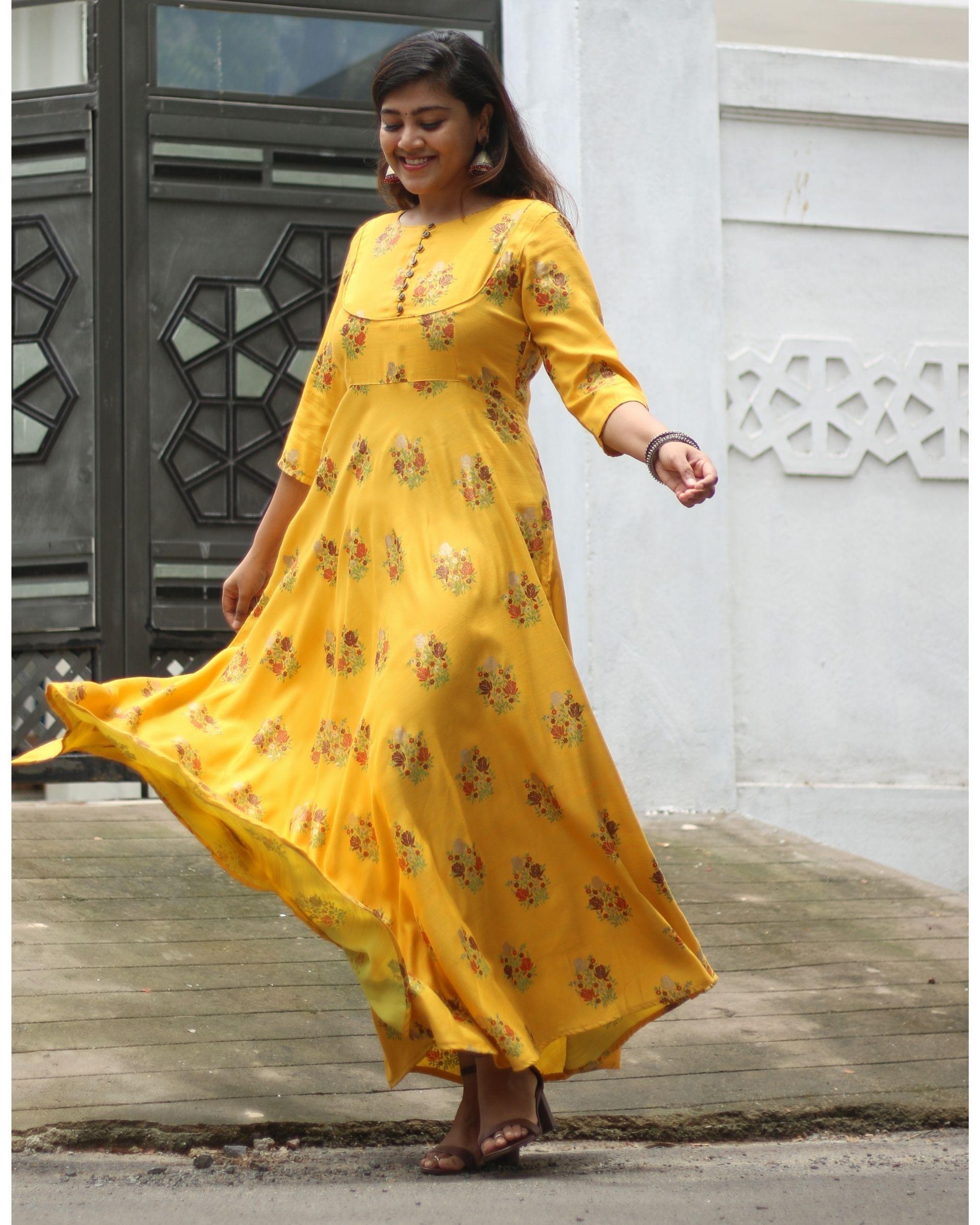 Mustard yellow floral printed yoke dress