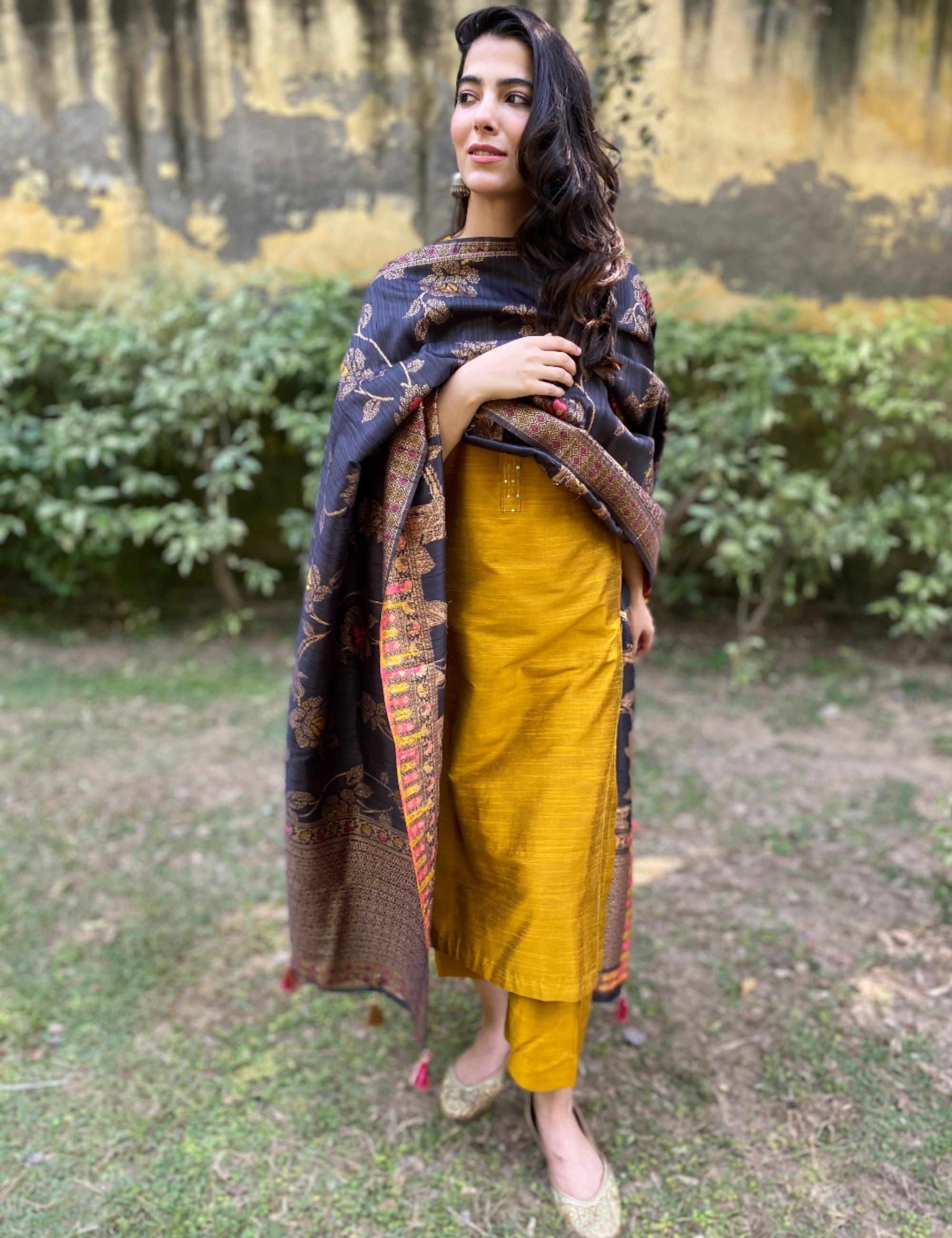 Mustard yellow hand embroidered kurta and pants with dupatta - Set Of Three