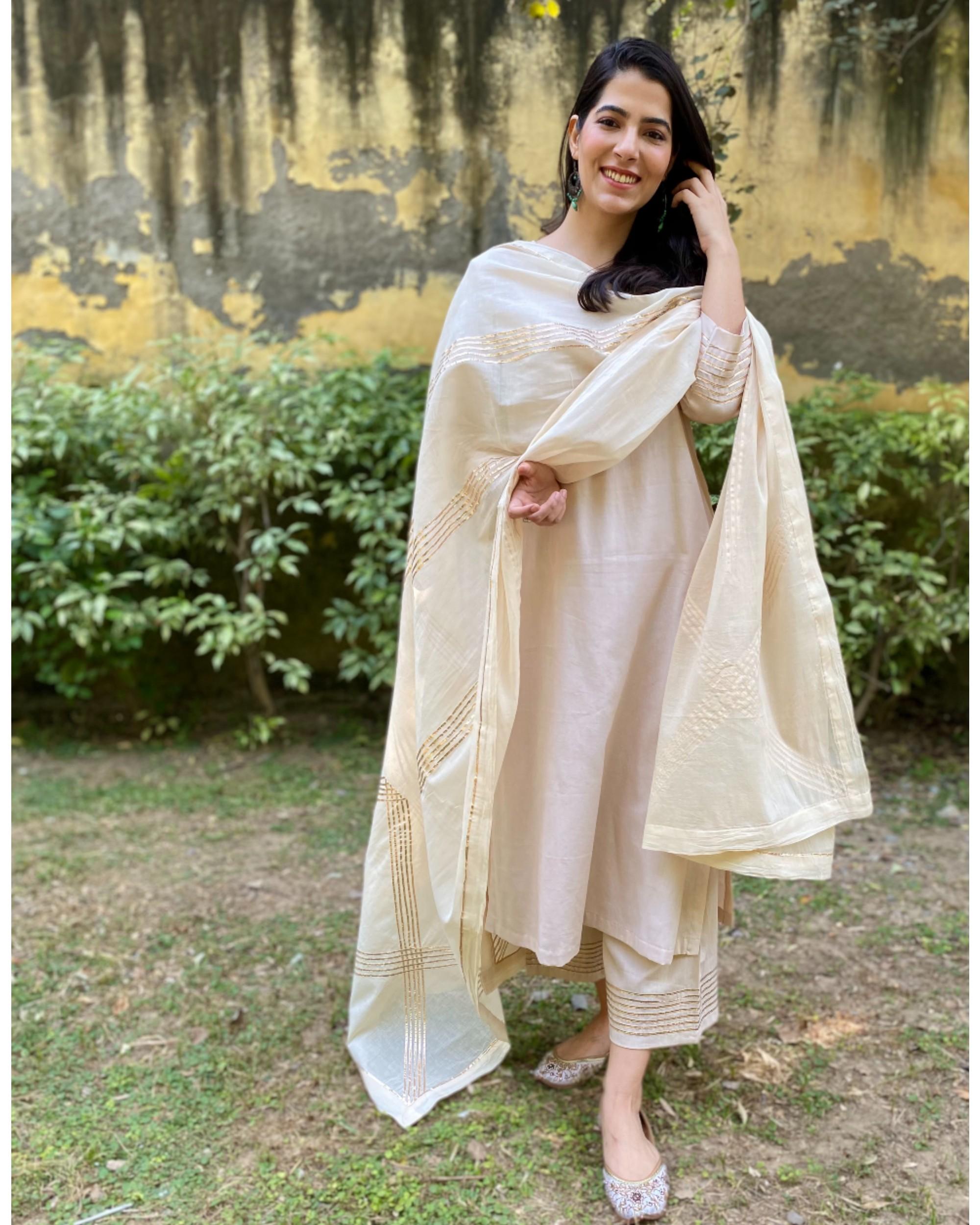 Ivory cotton silk gota kurta and pants with gota work dupatta - Set Of Three