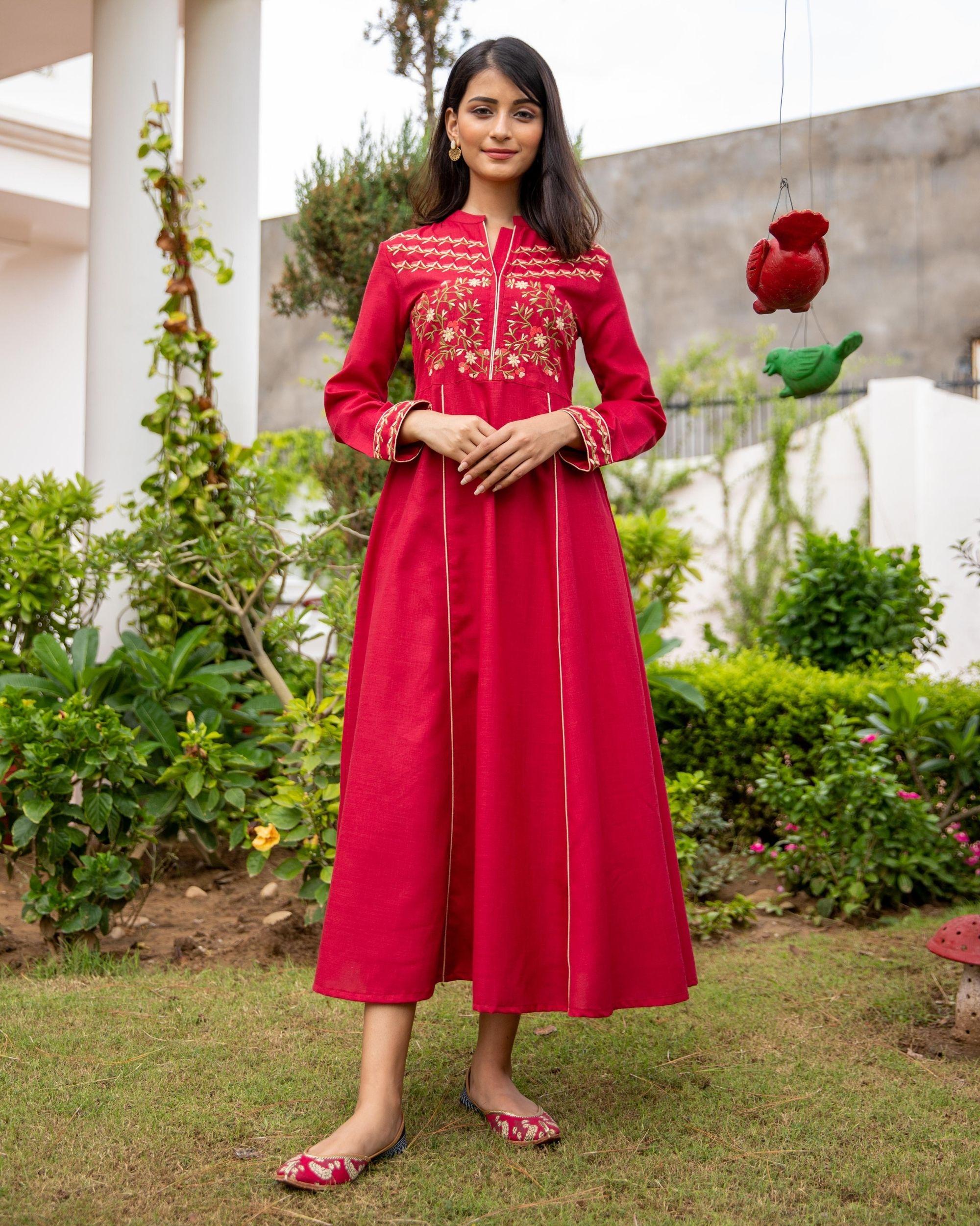 Scarlet red floral embroidered yoke kurta