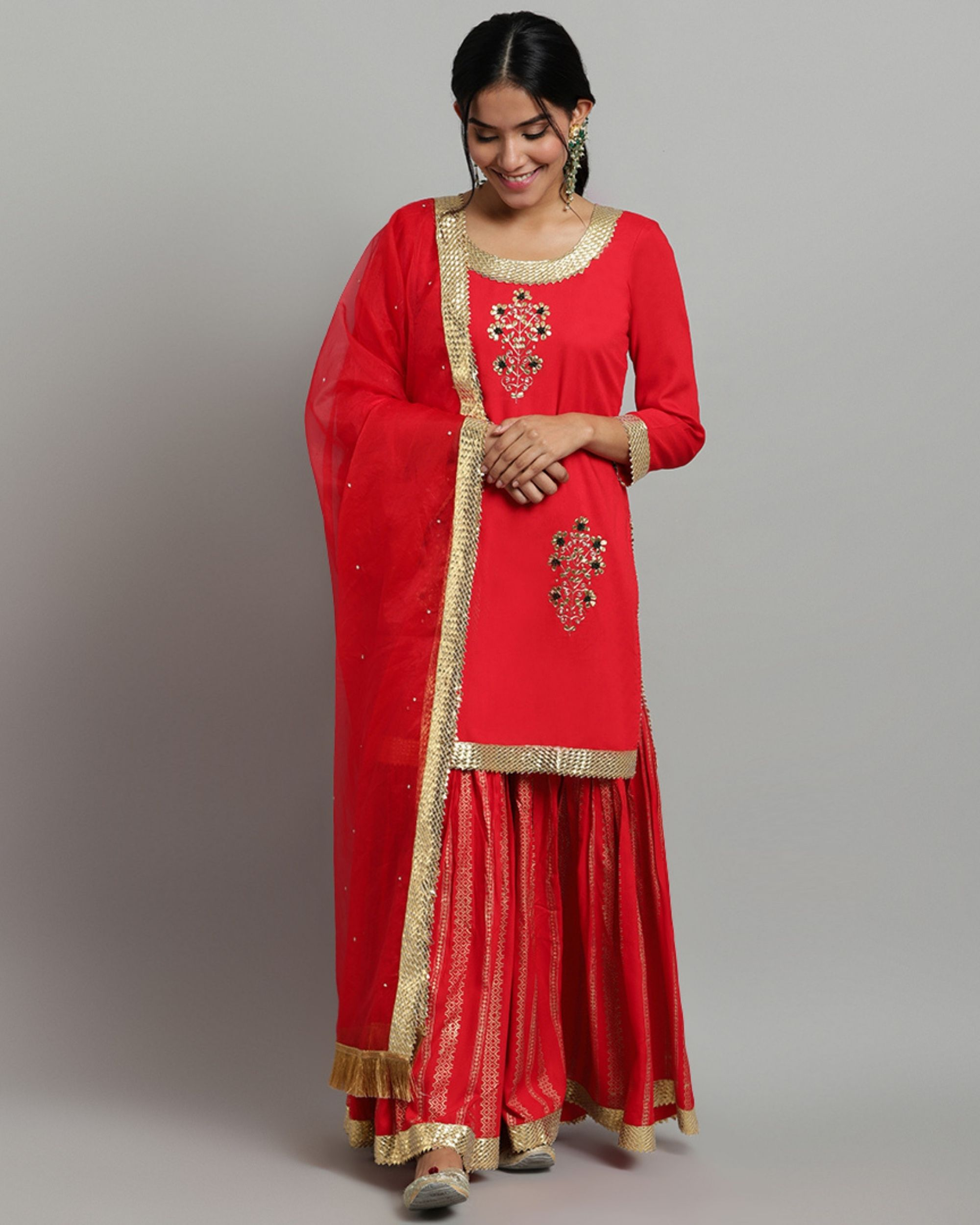 Designer Printed Women/'s Rayon Red Kurti With Dupatta Set Gold Print Work Valentine/'s Day Gift.
