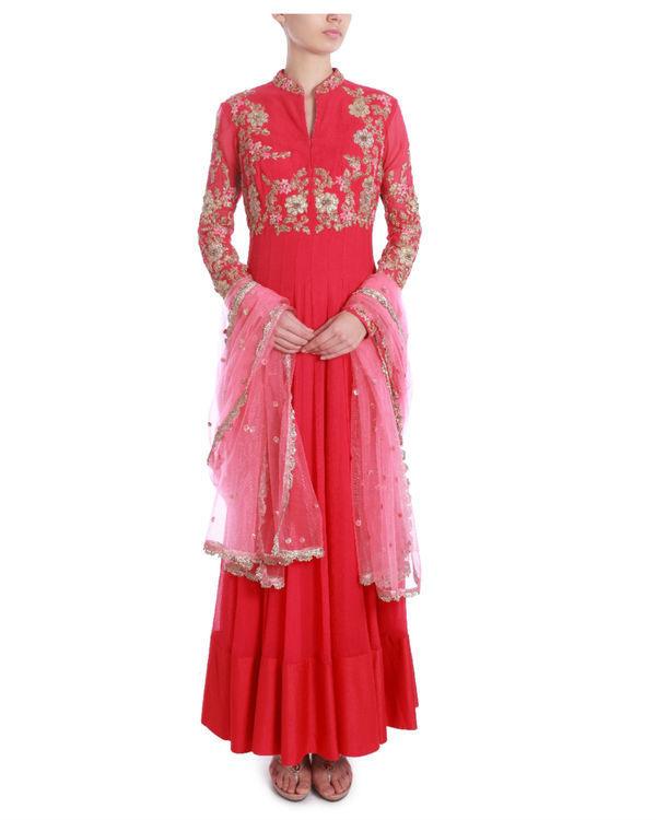 Raspberry pink embellished kalidaar