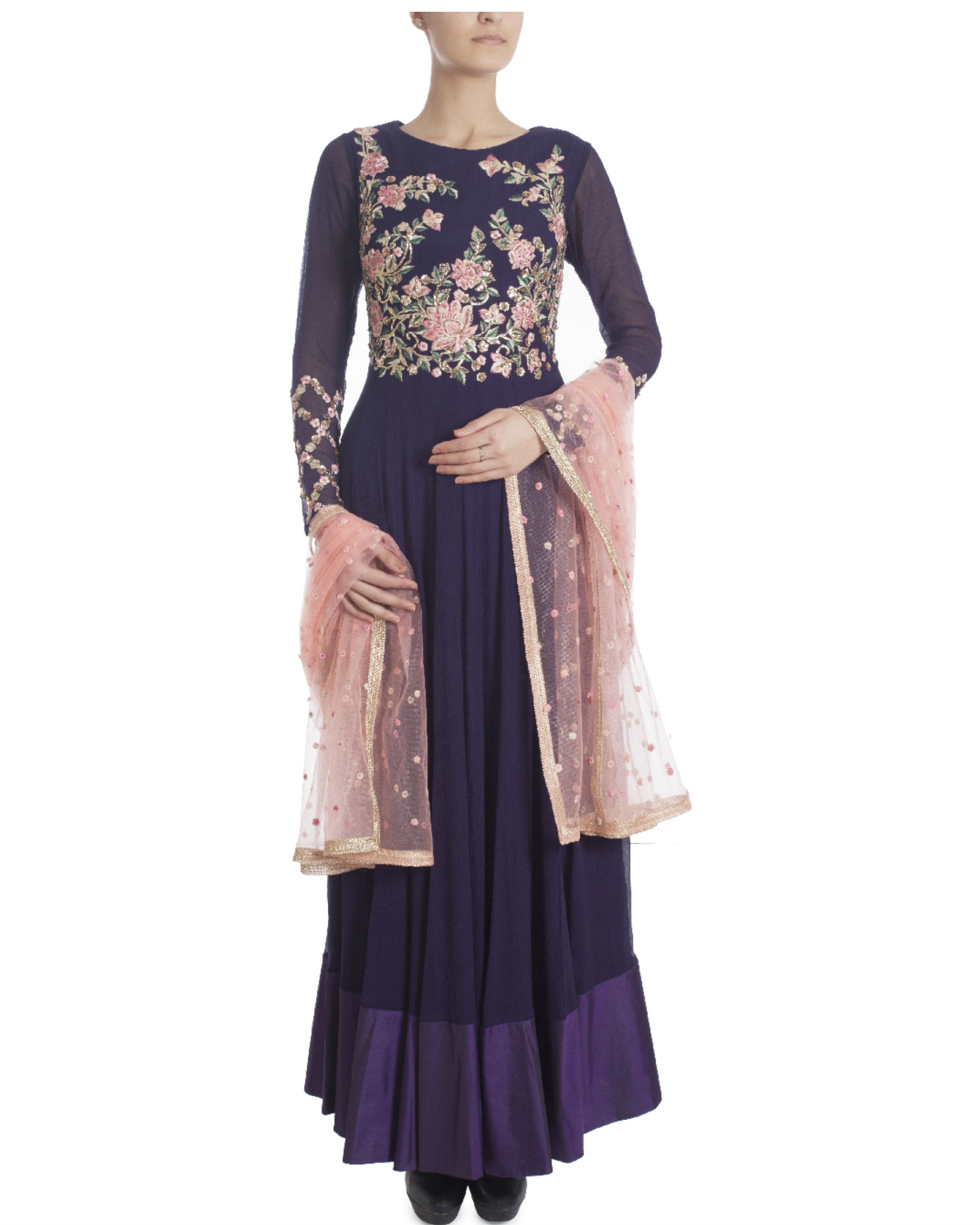Midnight blue floor length kalidaar