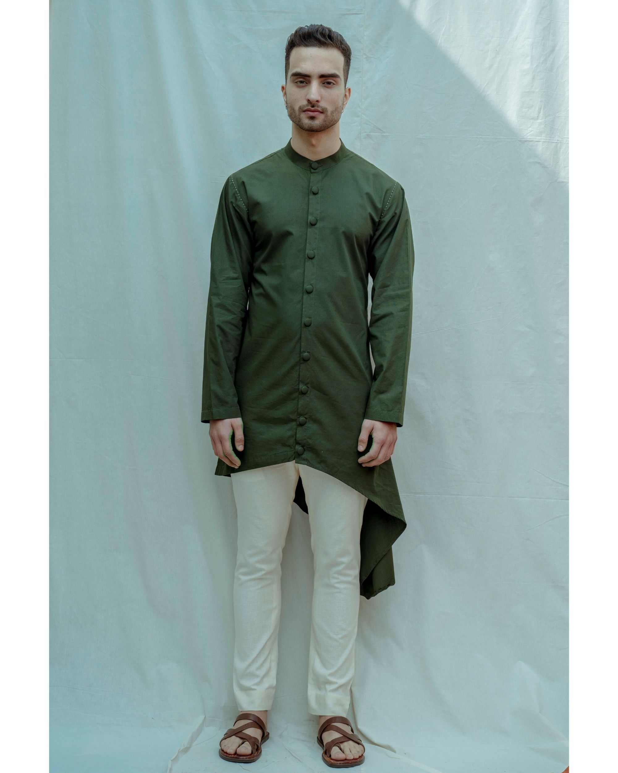 Bottle green buttoned high low kurta with off white pants - Set Of Two