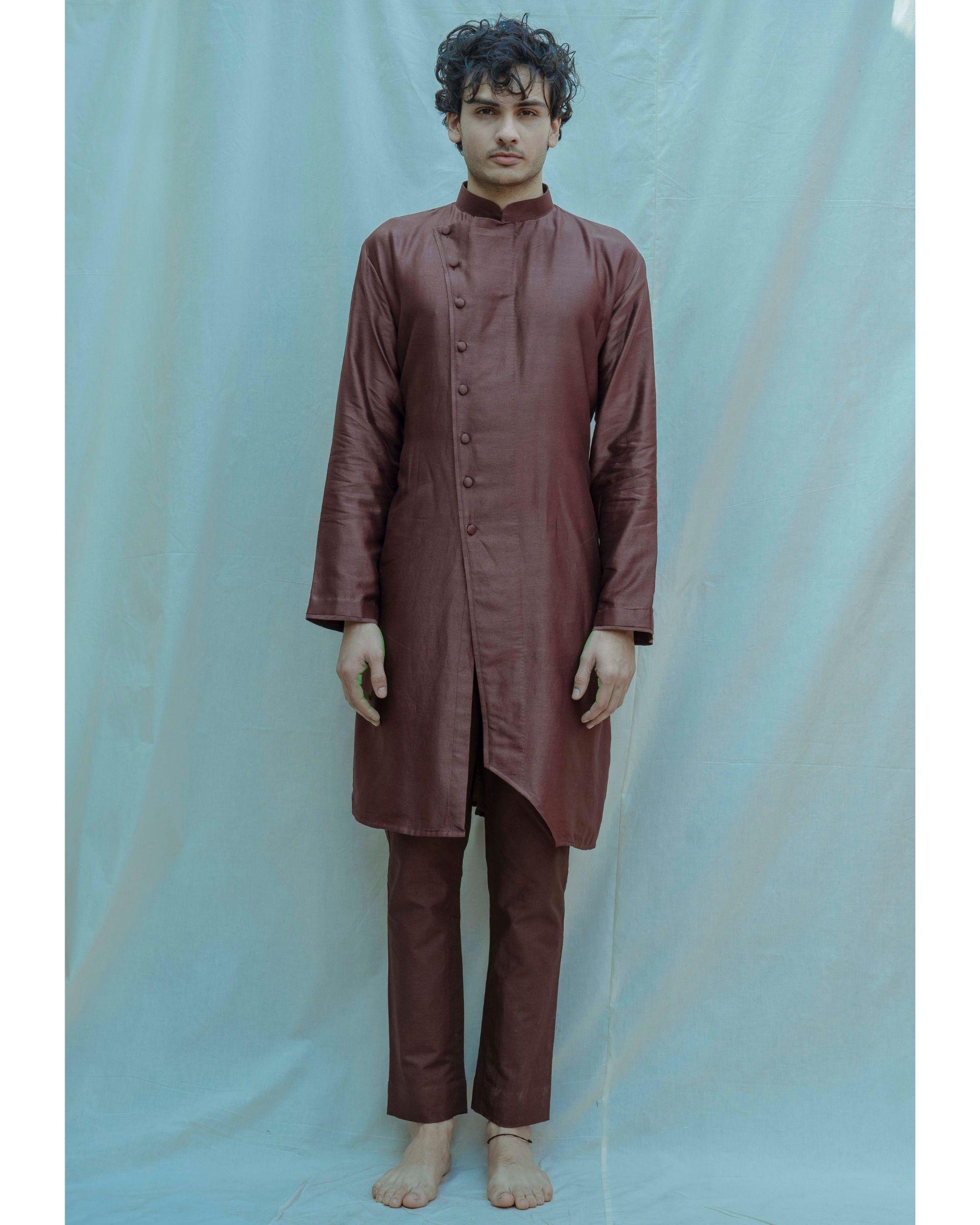 Brown chanderi silk mandarin kurta with pants - Set Of Two
