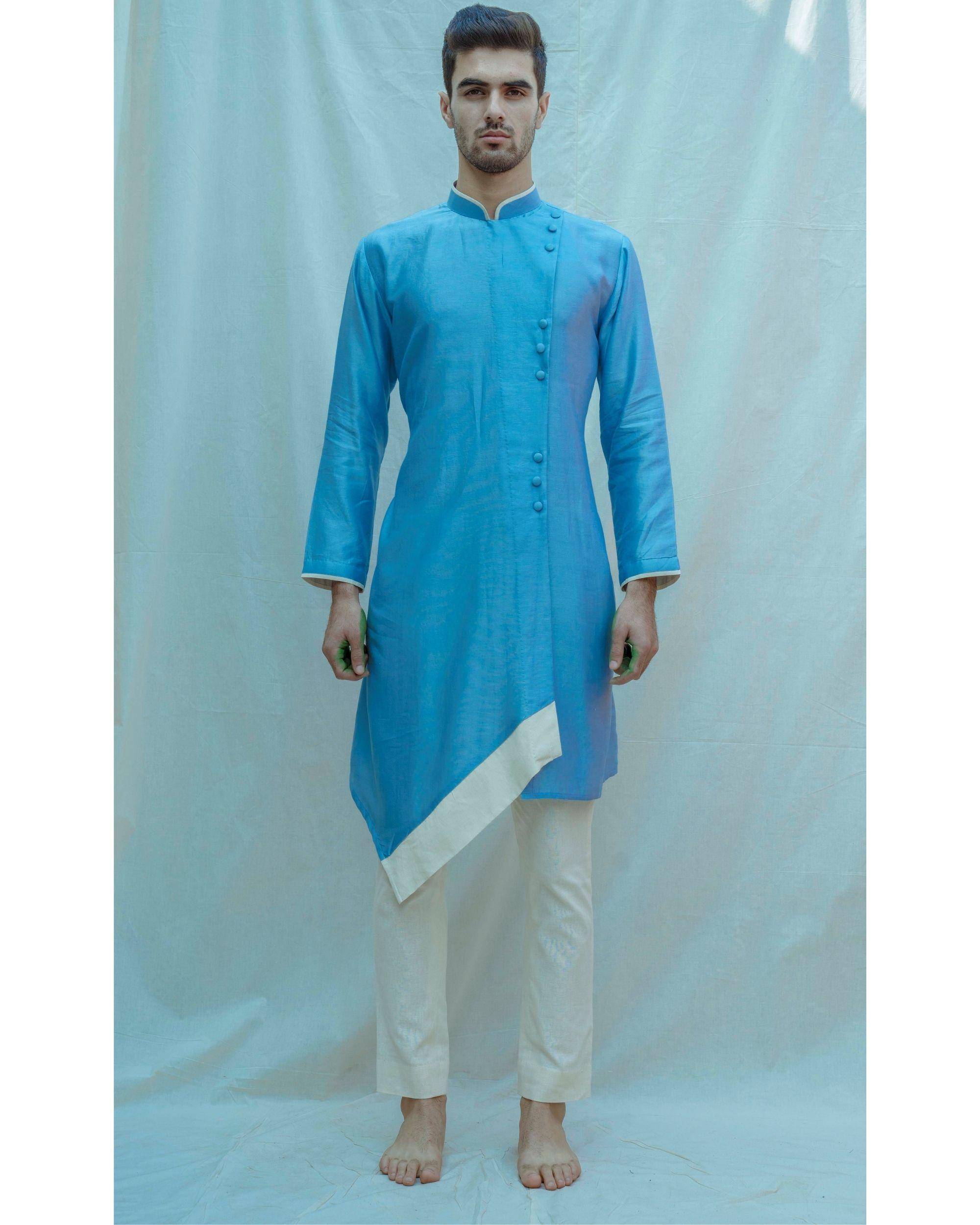 Blue paneled chanderi silk kurta with off white pants - Set Of Two