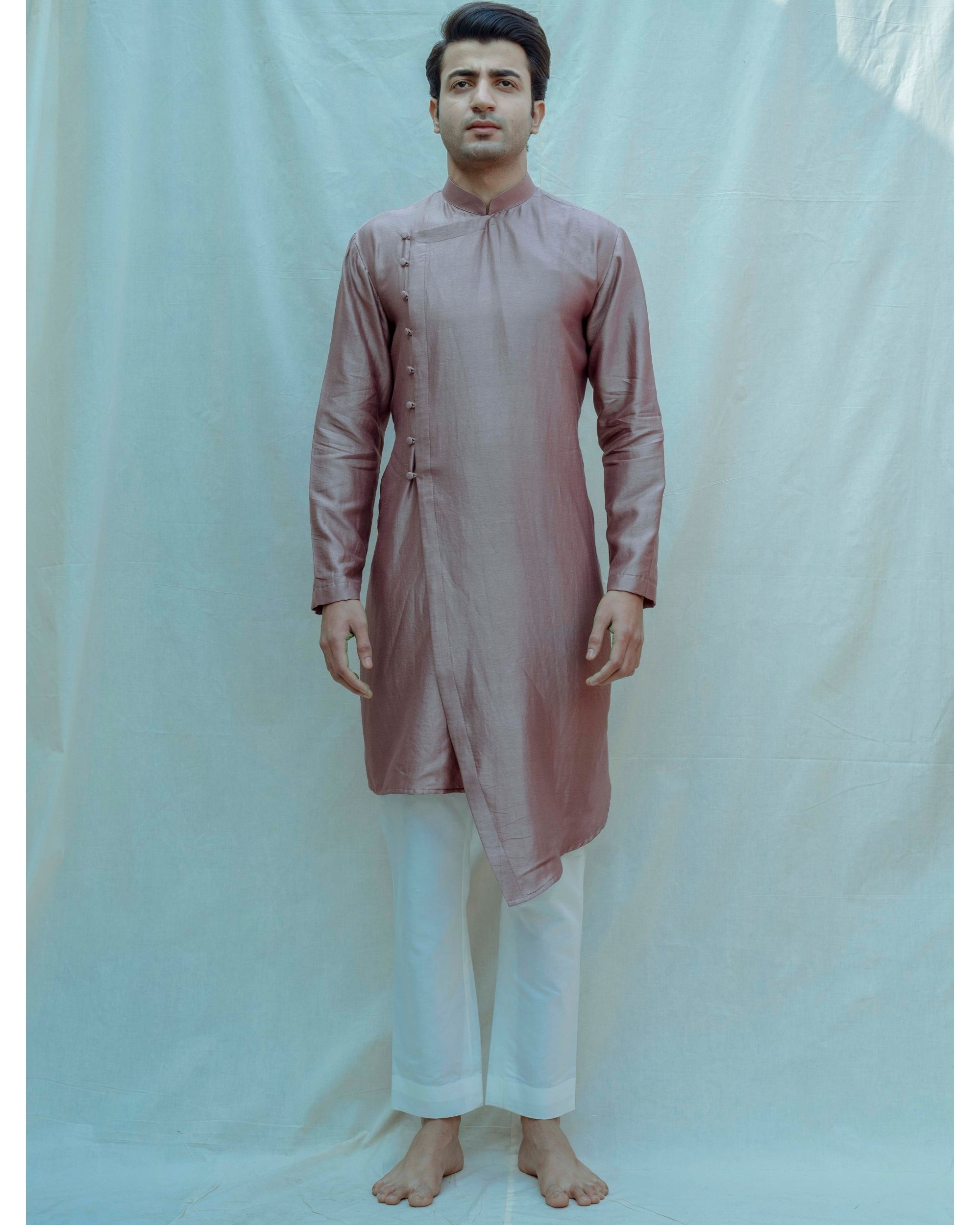 Mauve chanderi silk kurta with off white pants - Set Of Two