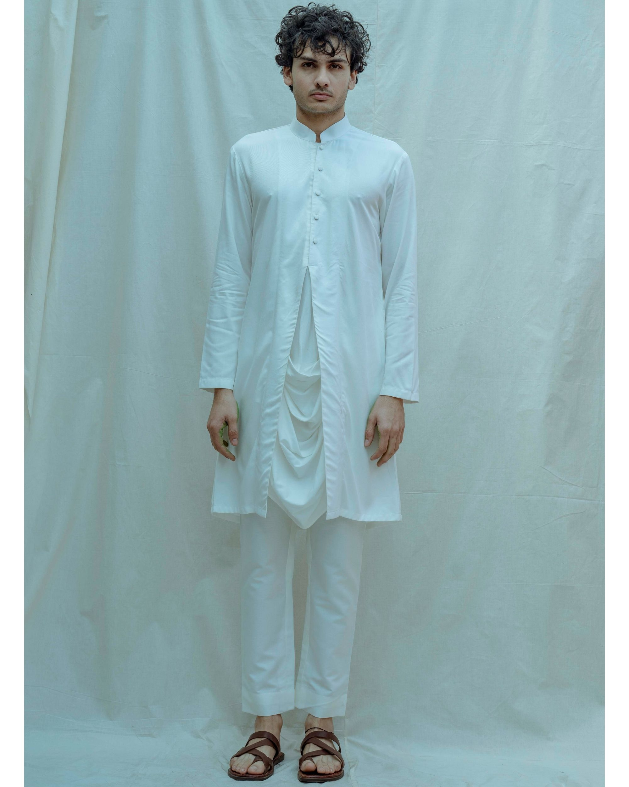 White paneled cowl kurta with pants - Set Of Two