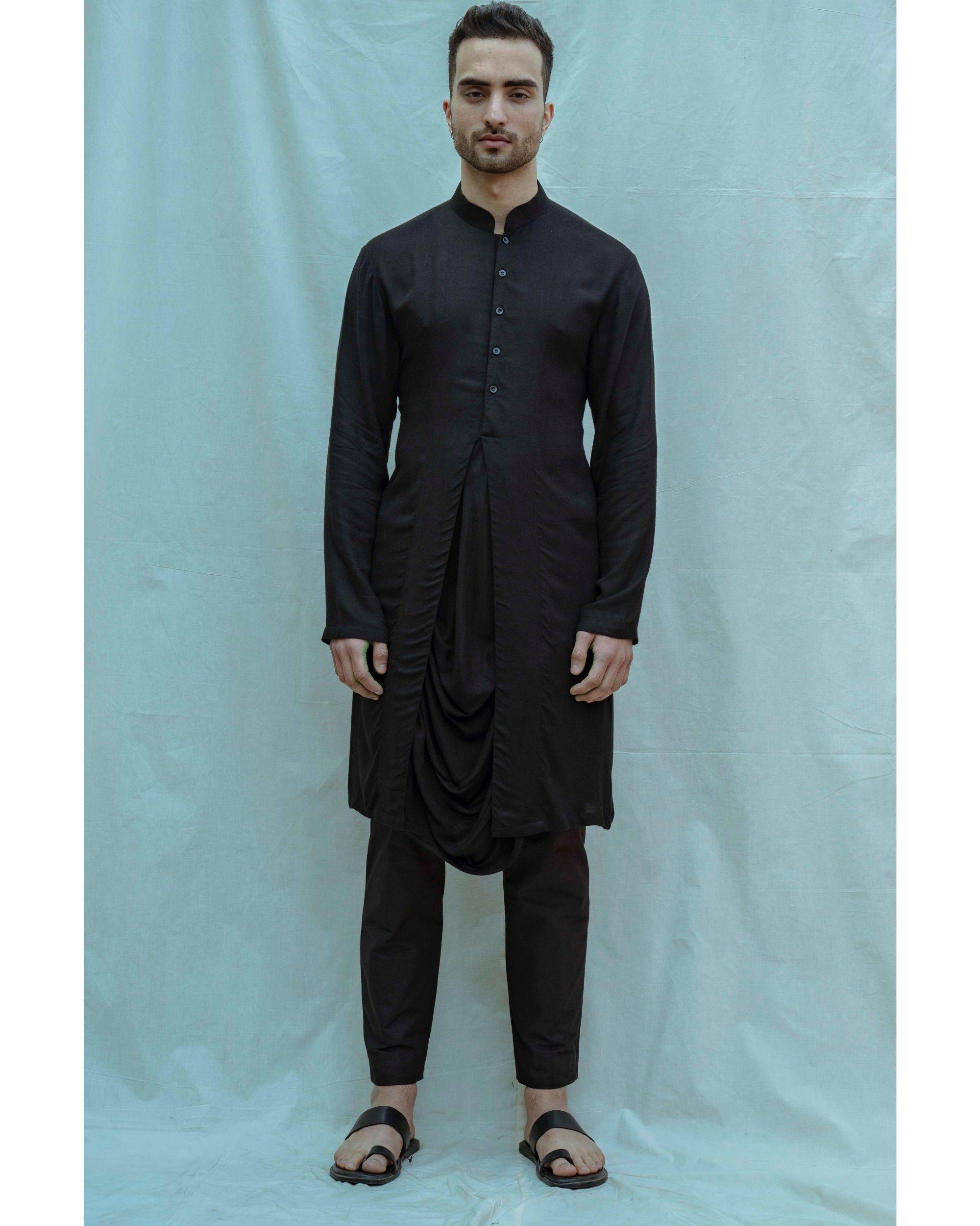 Black paneled cowl kurta with pants - Set Of Two