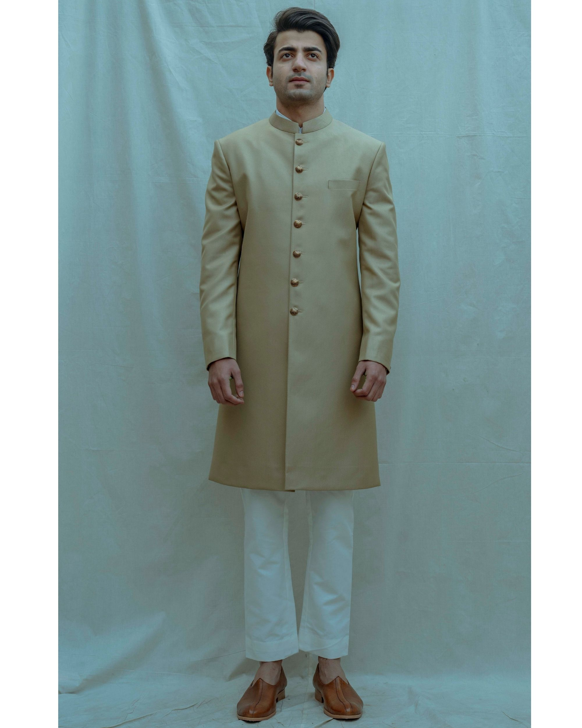 Beige textured achkan with white kurta and pants - Set Of Three
