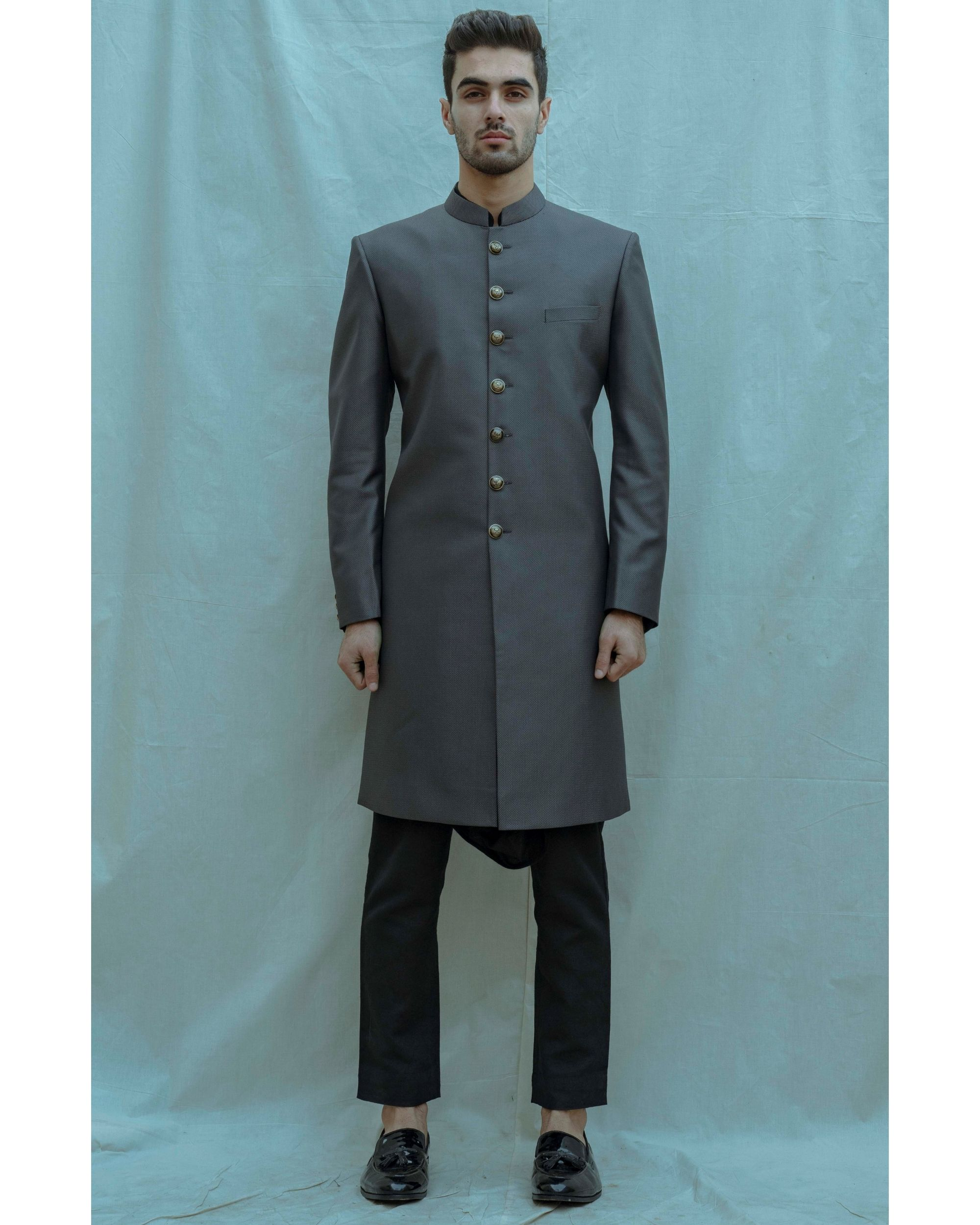 Dark grey achkan with black cowl kurta and pants - Set Of Three
