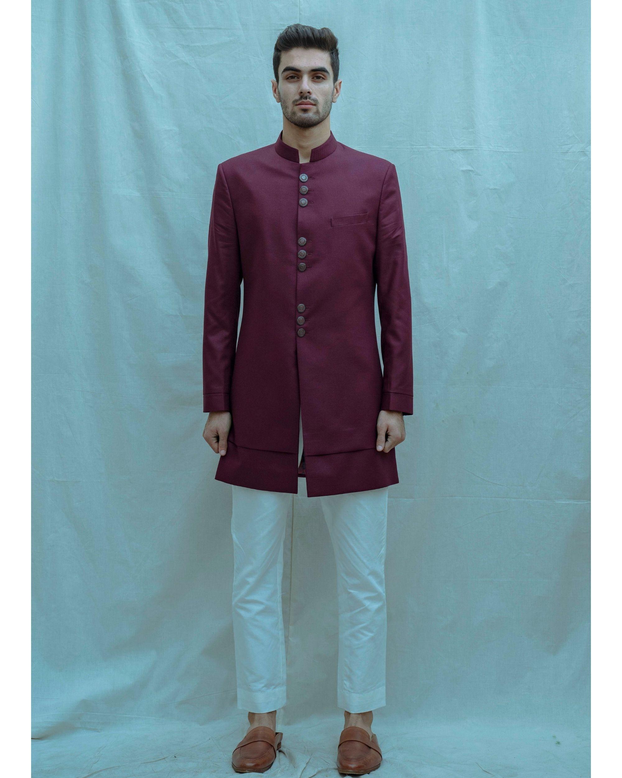 Wine hued achkan and white kurta with pants - Set Of Three