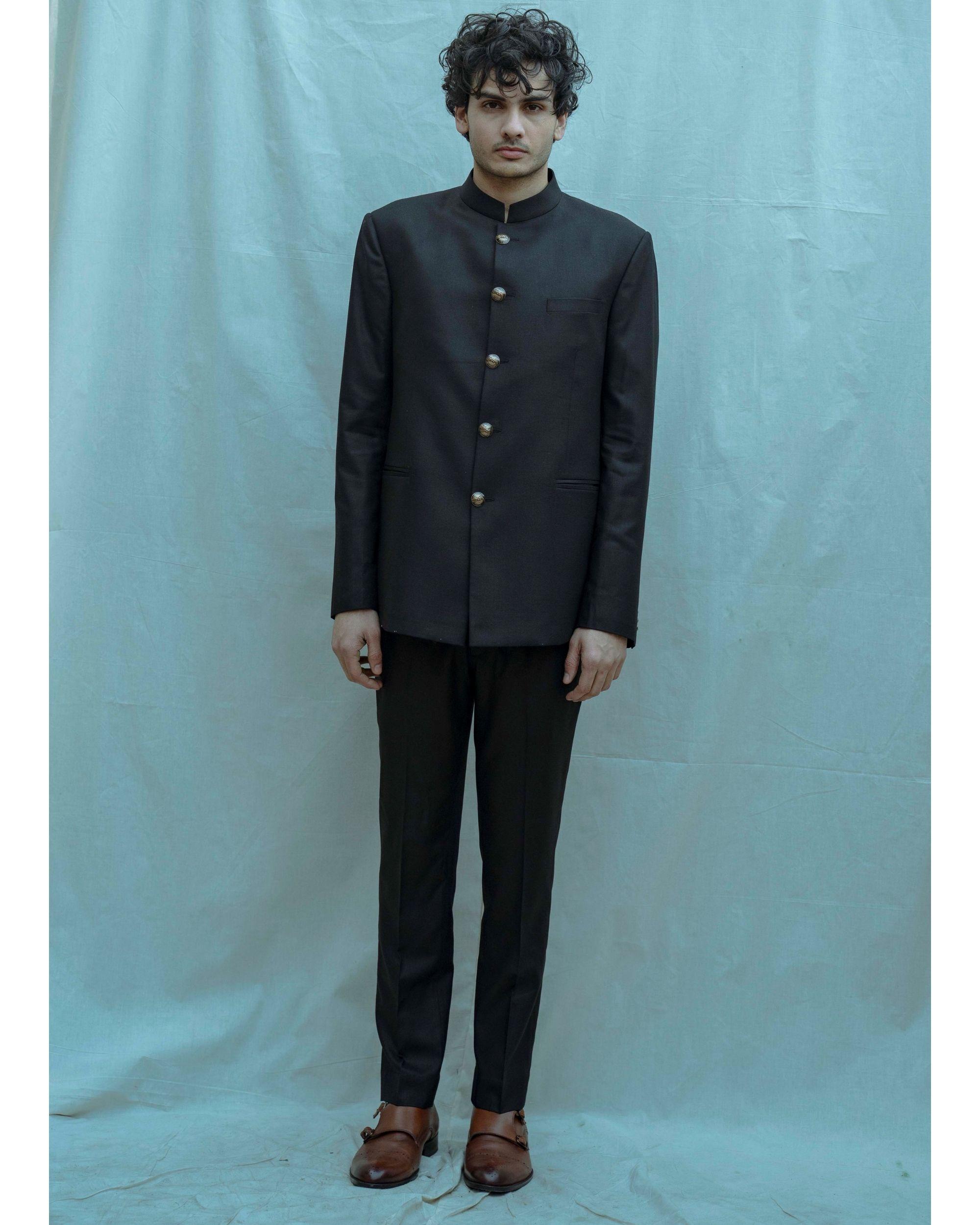 Black bandgala and white shirt with pants - Set Of Three