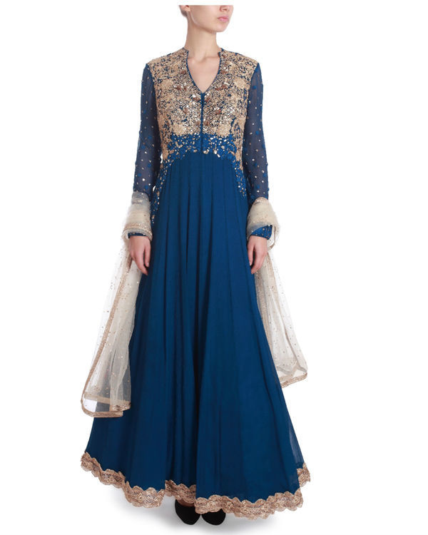 Indigo blue floor length kaidaar