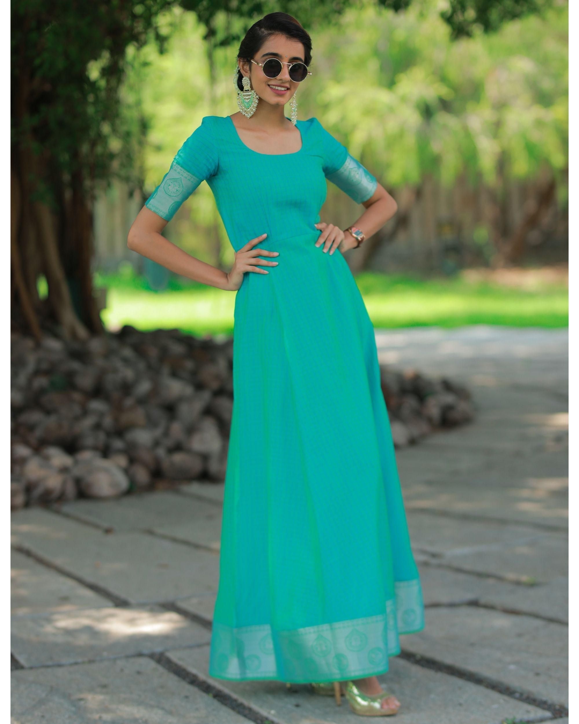 Turquoise checkered maxi dress