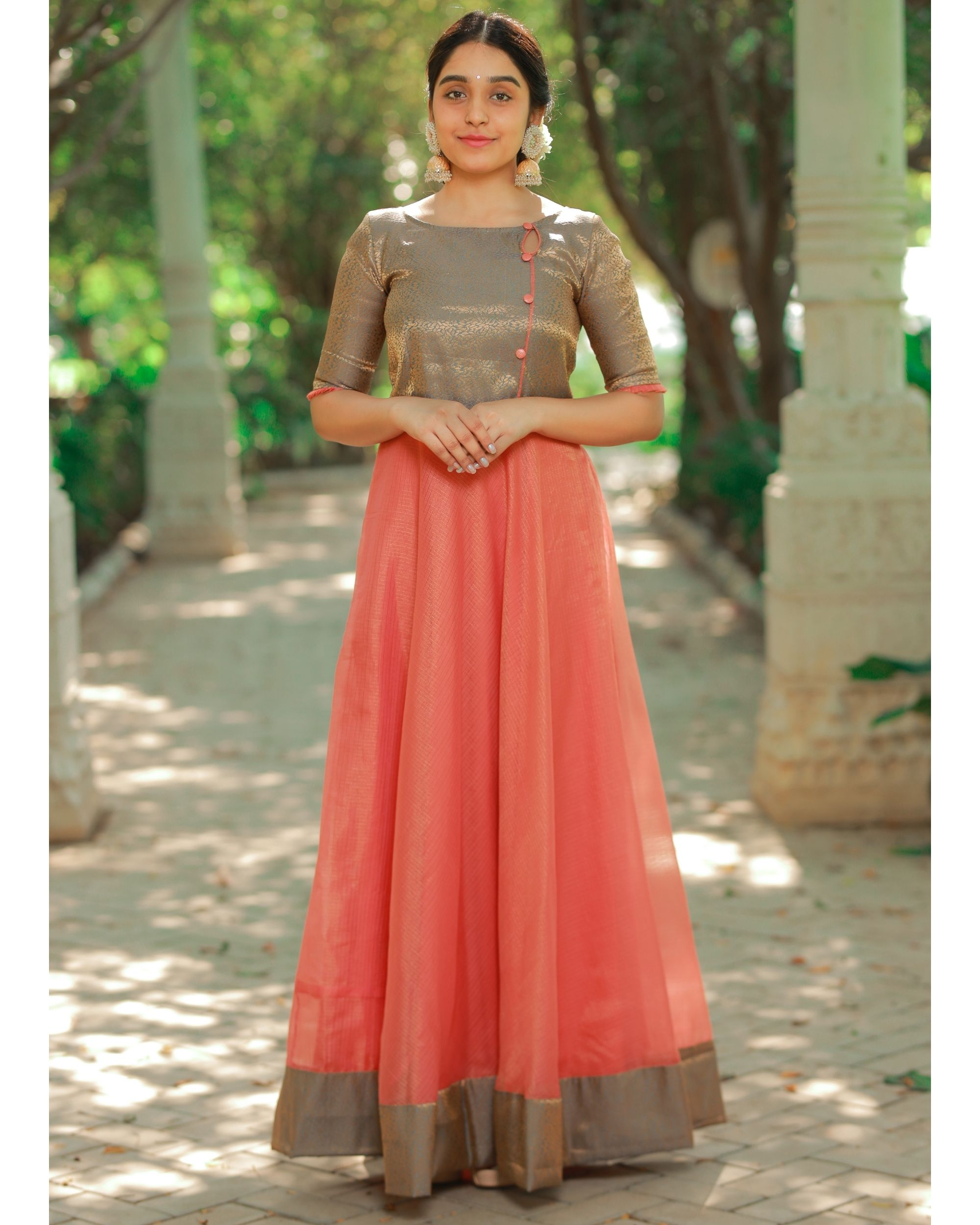Peach and brown flared yoke maxi dress