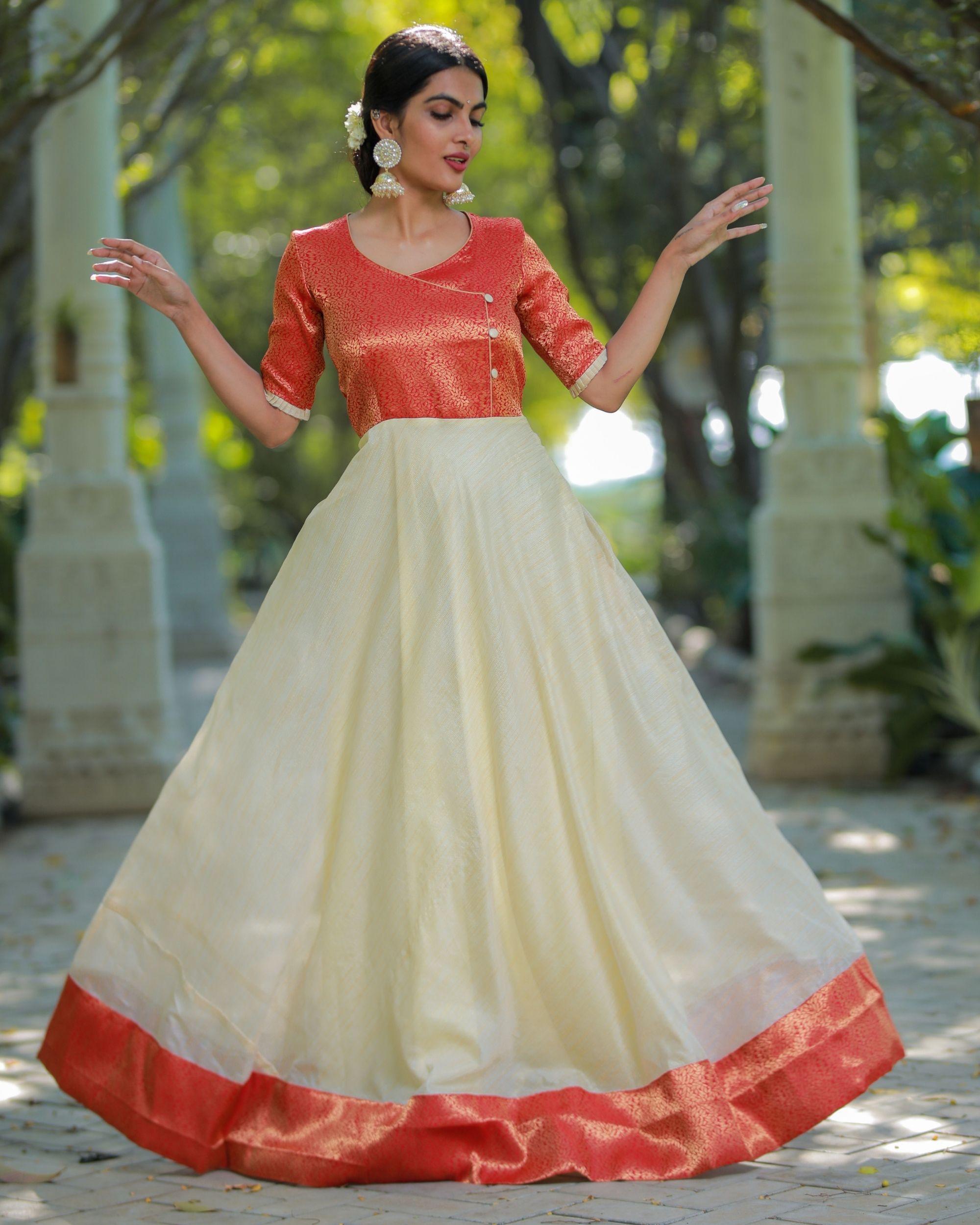 Off white and orange flared yoke maxi dress