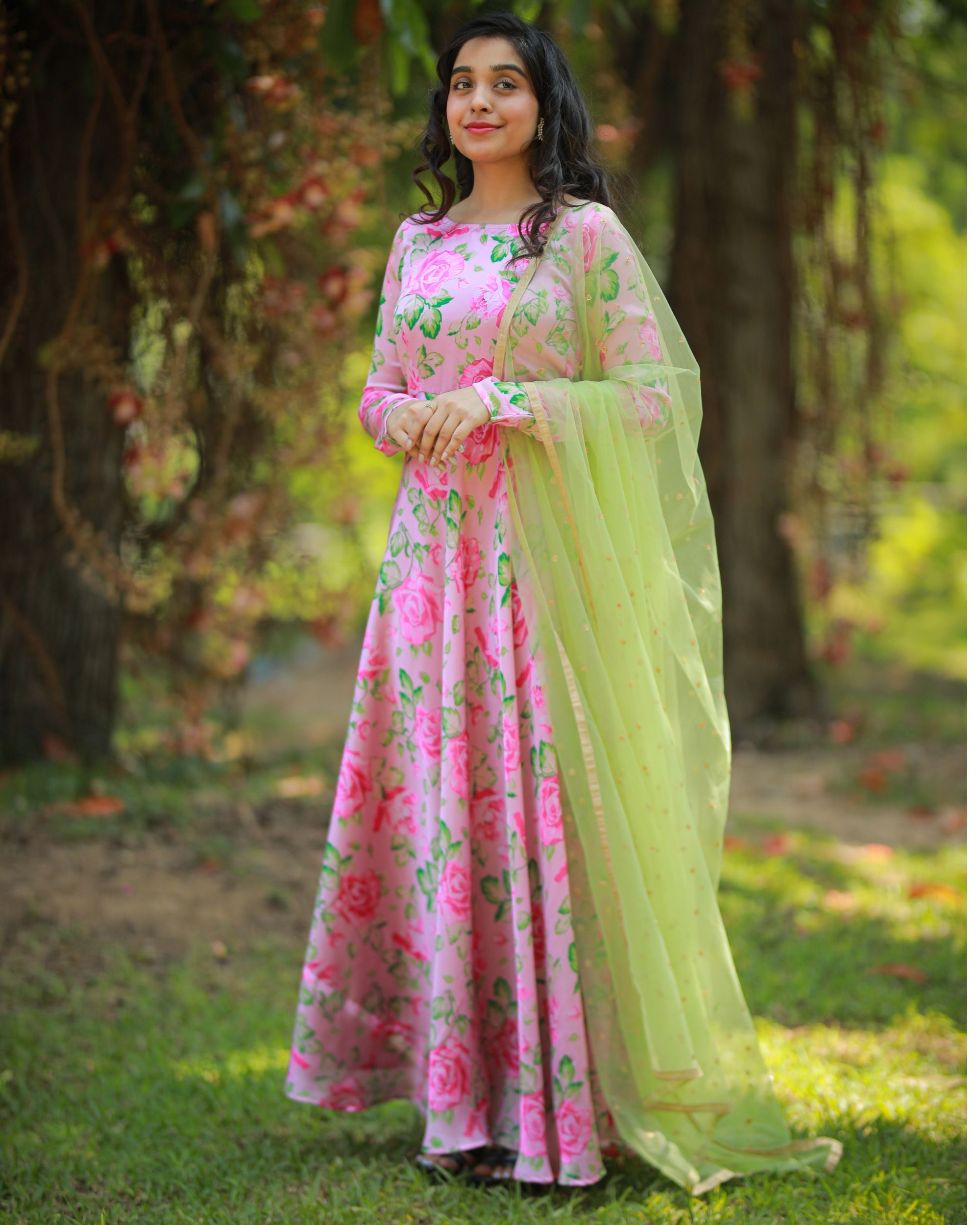 Pastel pink and green floral maxi dress with embroidered dupatta - Set Of Two