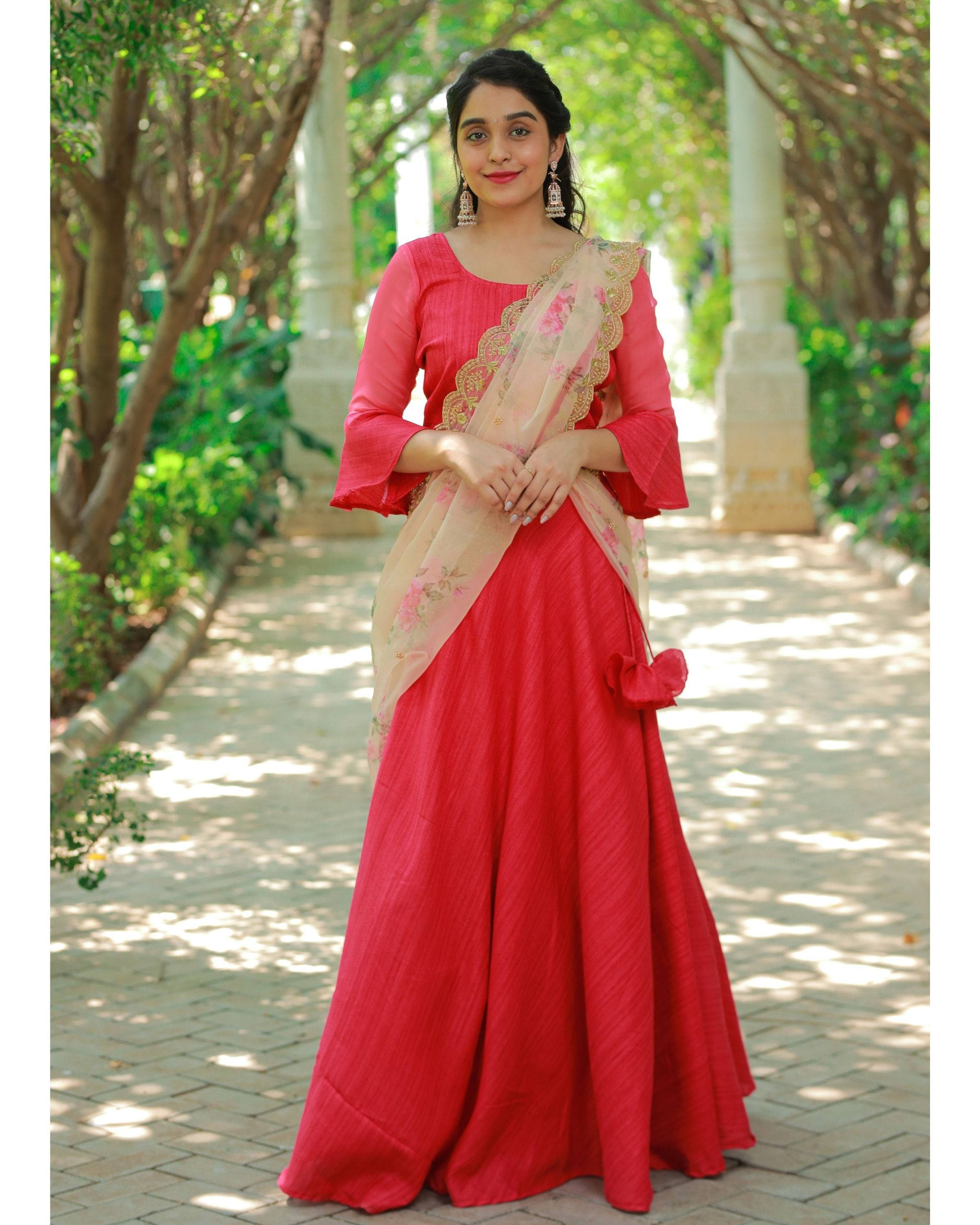 Red bell sleeve crop top and skirt with embroidered dupatta - Set Of Three