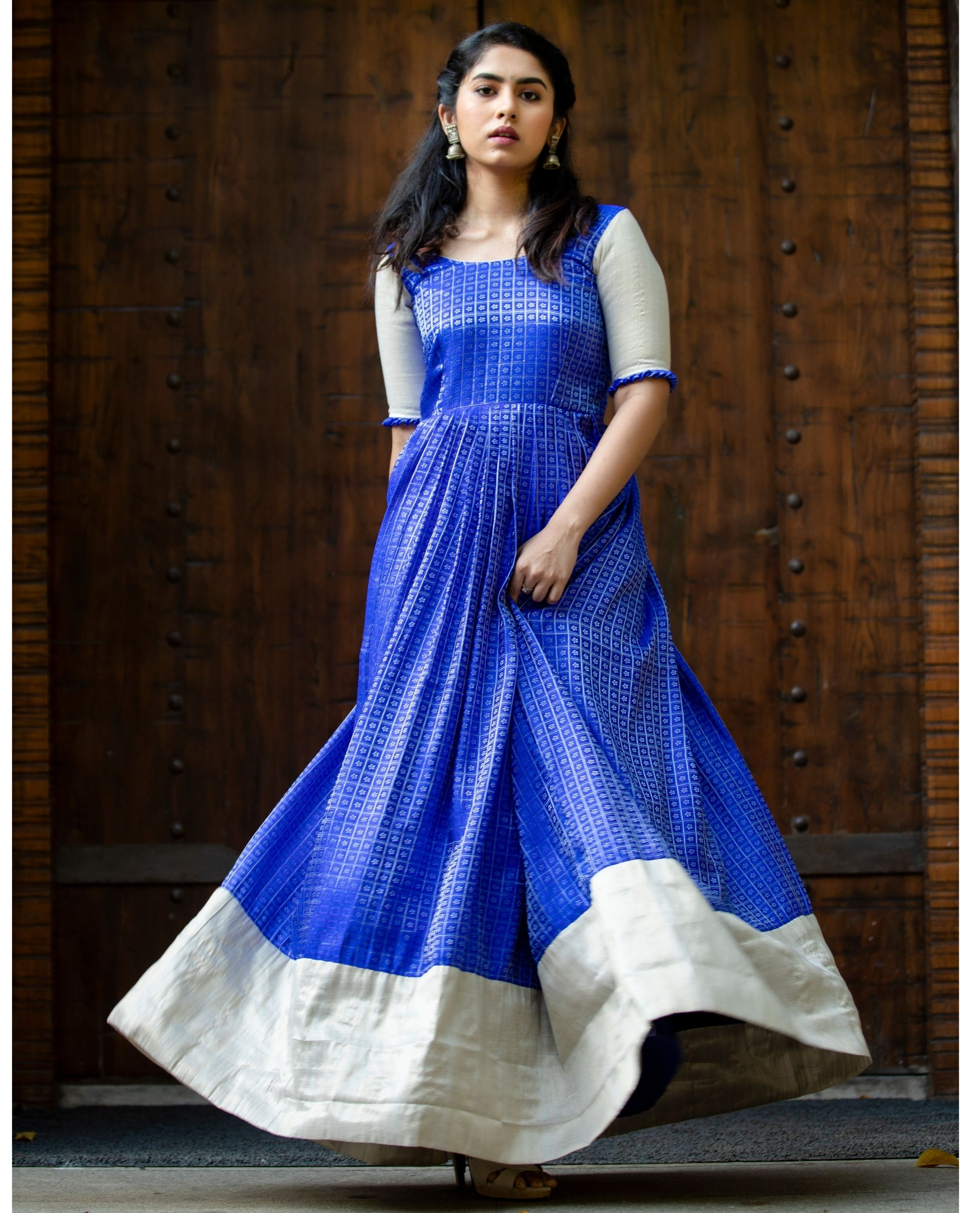 Blue and silver checkered pleated maxi dress