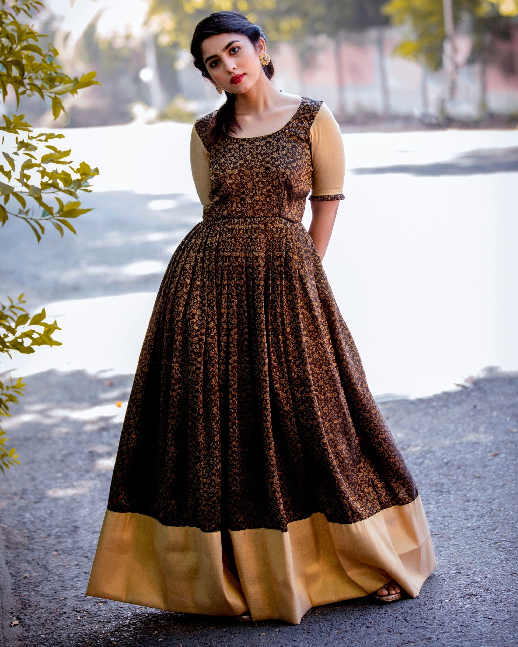 Black and gold floral jaal maxi dress
