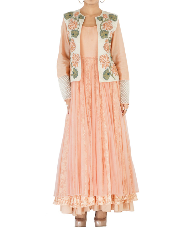 Peach net & lace embroidered anarkali