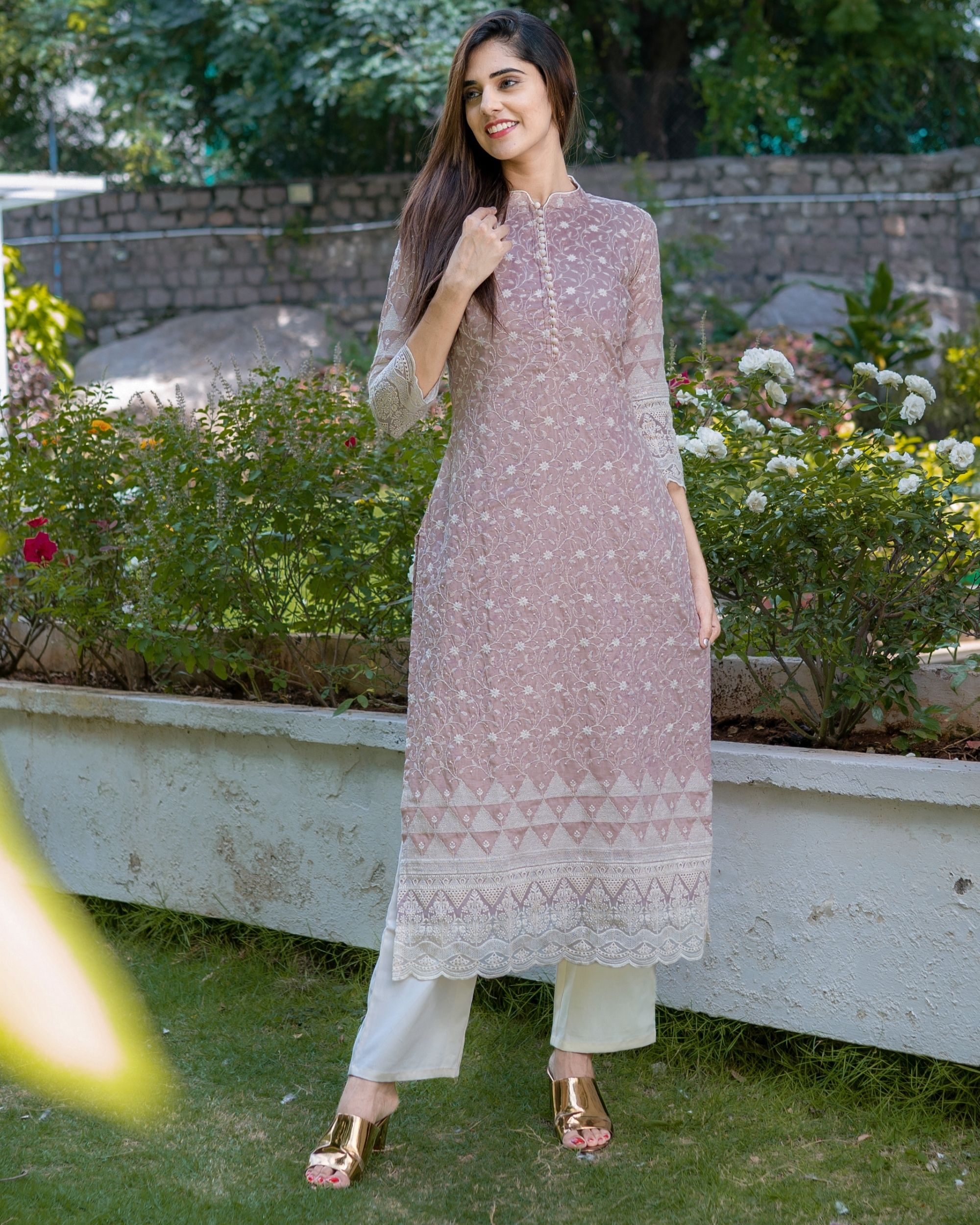 Dusty lavender embroidered kurta with lace detailing and pants - Set Of Two