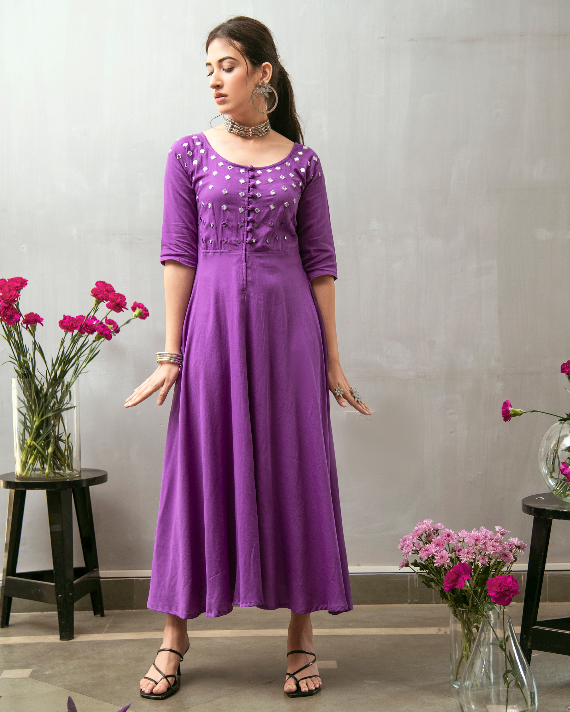 Purple mirror embroidered buttoned dress