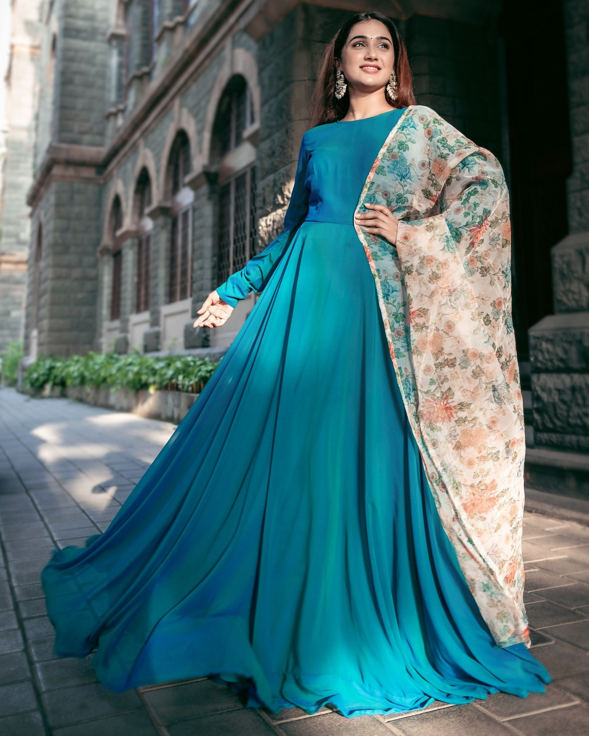 Turquoise georgette flared dress with floral organza dupatta - Set Of Two