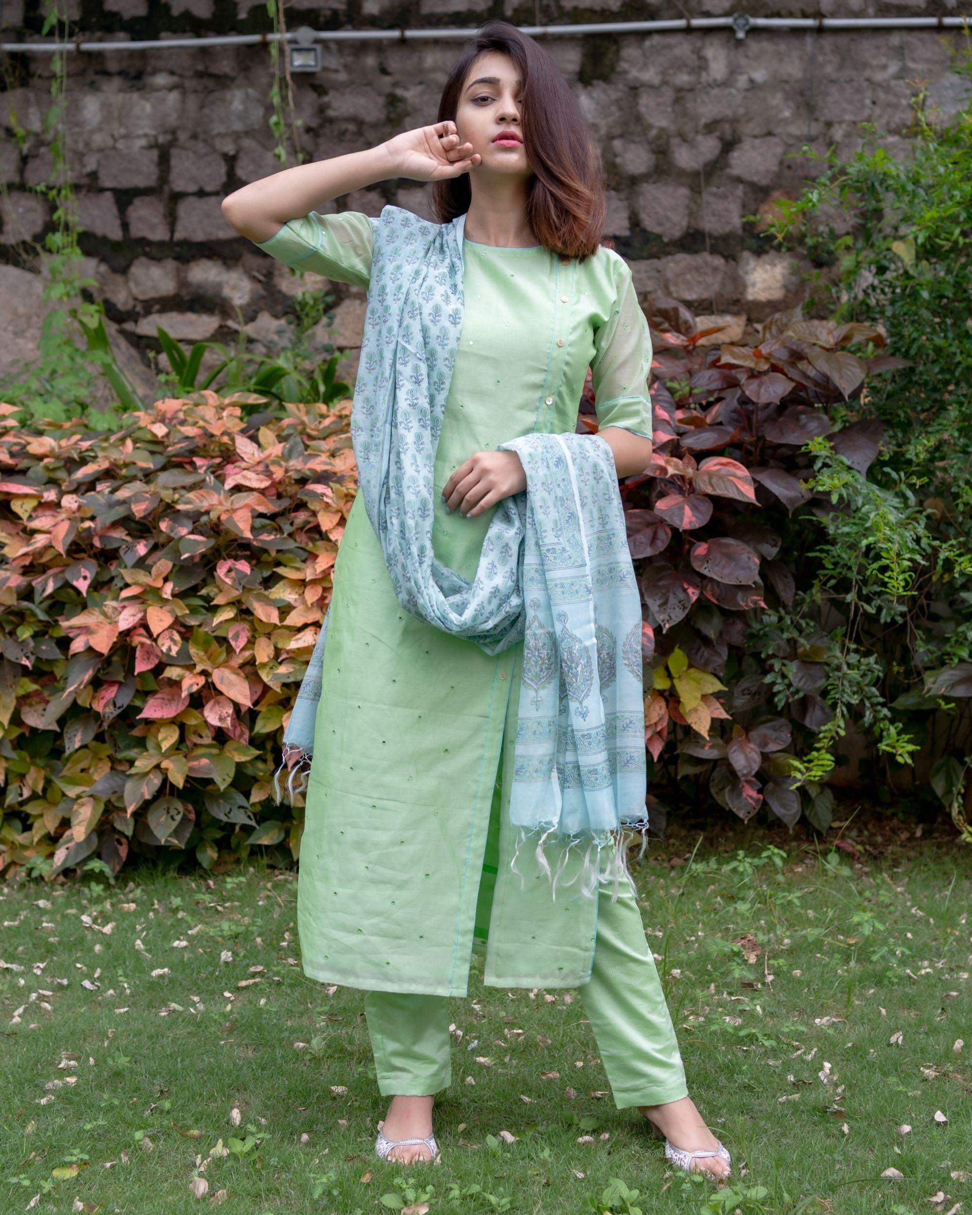 Light green mirror work kurta and pants with floral printed dupatta - Set Of Three