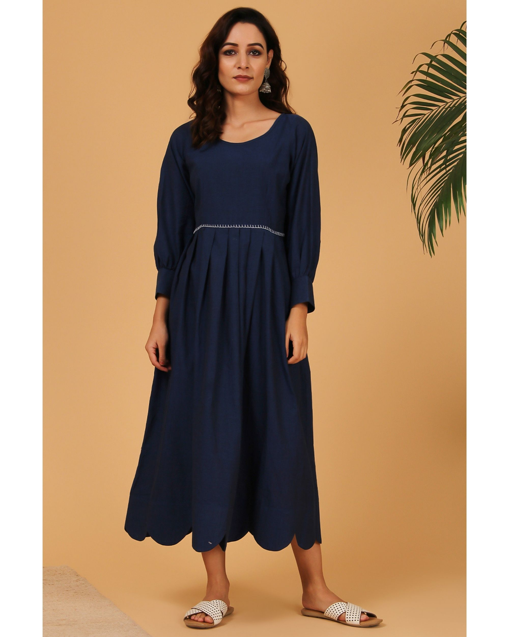 Navy blue pleated scalloped dress