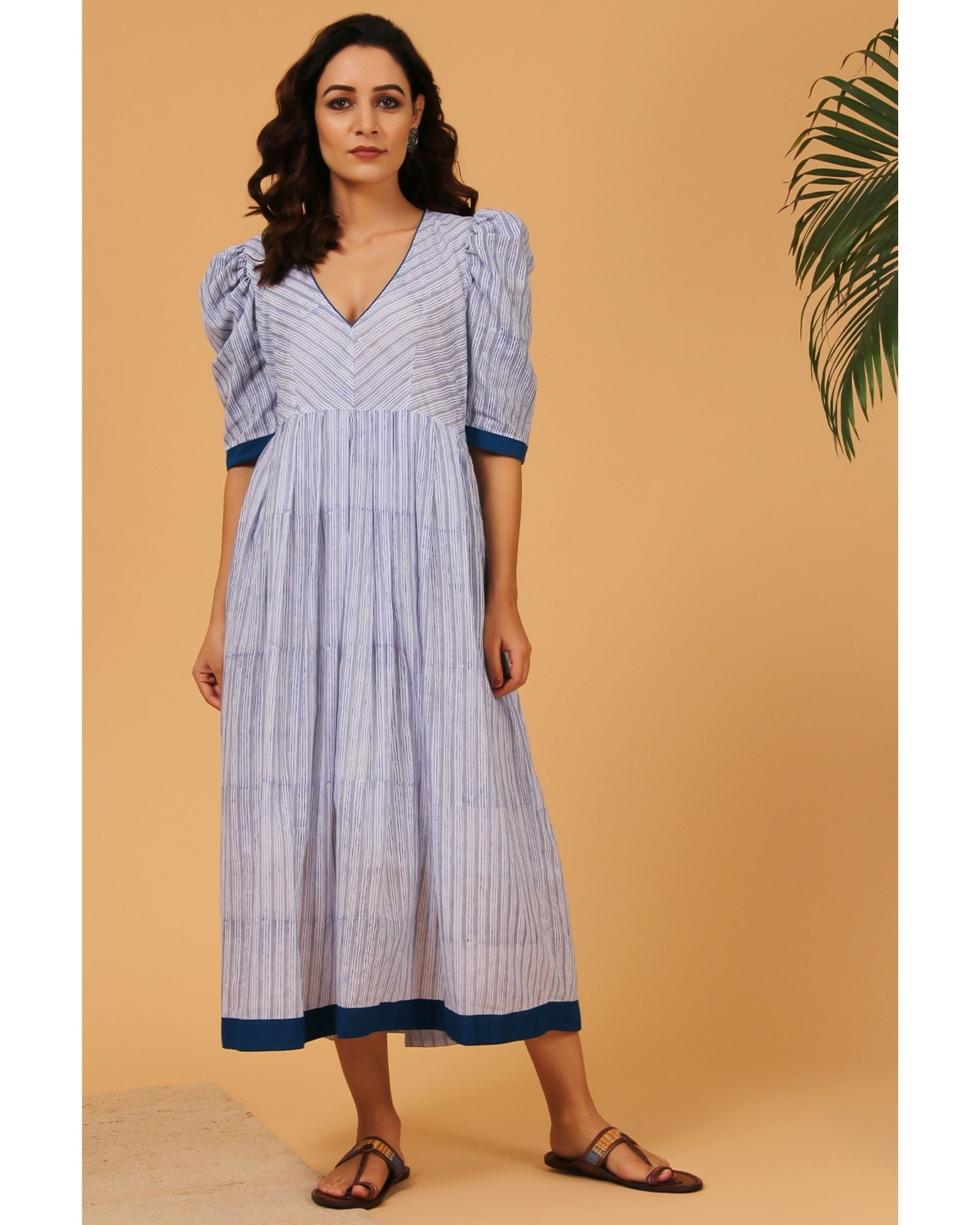 Blue and grey striped puffed sleeve dress