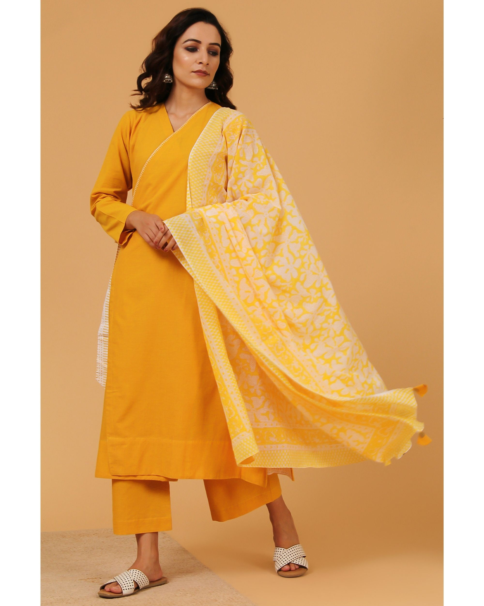 Mustard yellow embroidered angrakha kurta and pants with dupatta - Set Of Three