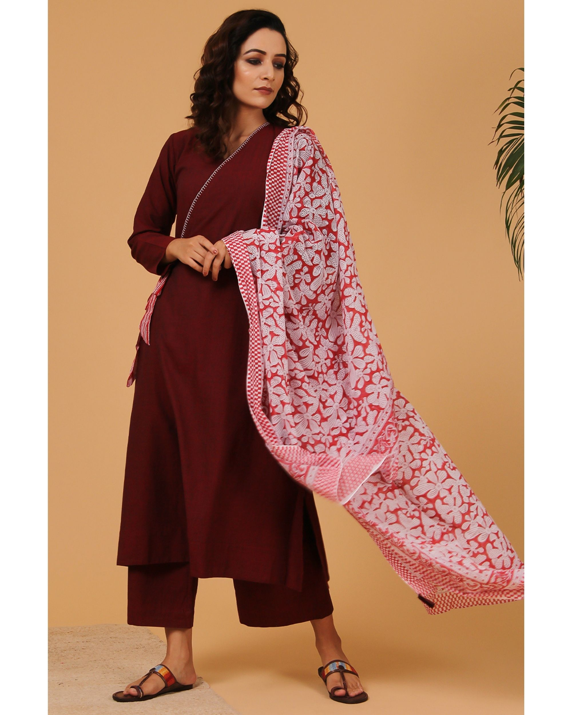 Maroon embroidered angrakha kurta and pants with dupatta - Set Of Three