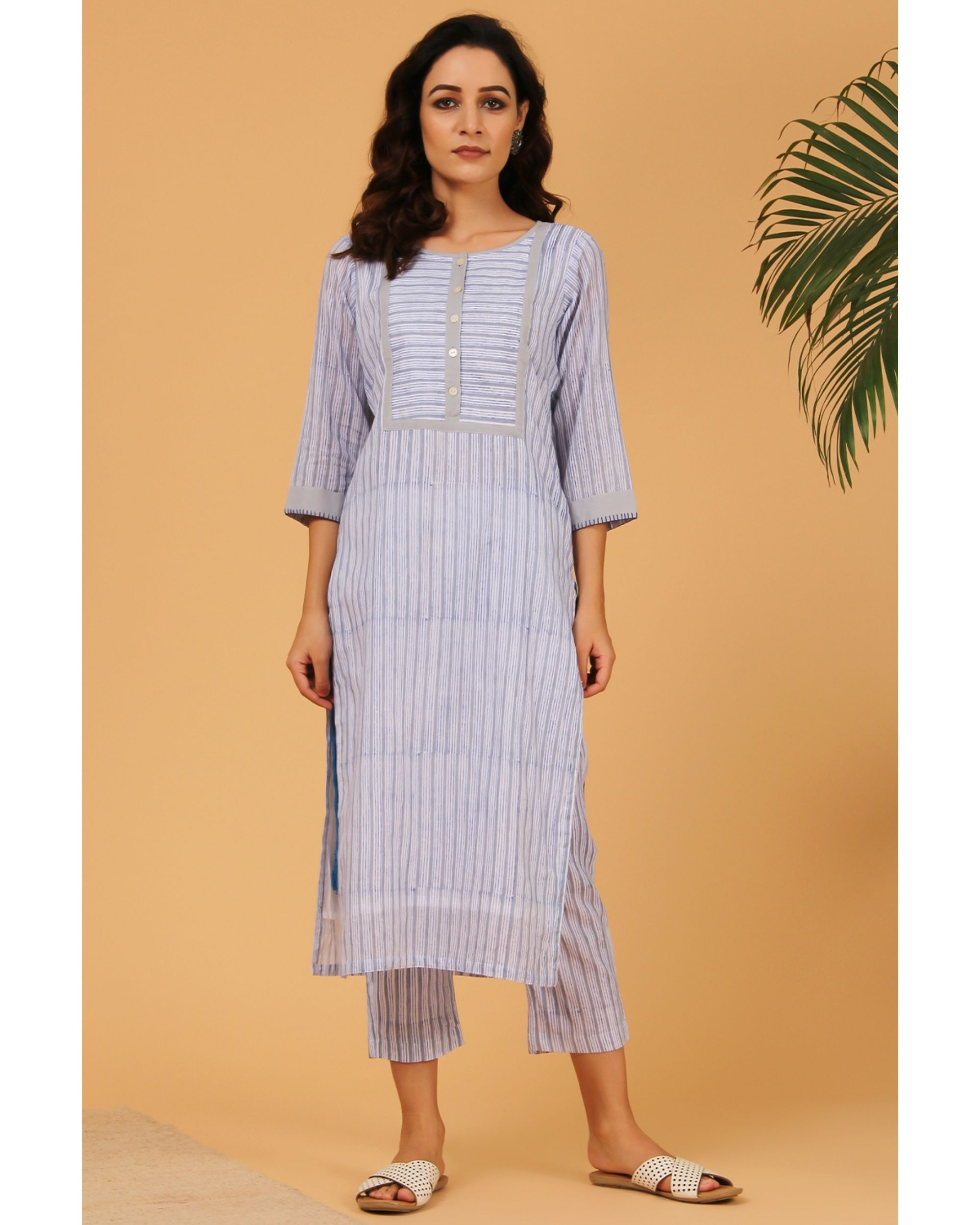 Blue and grey hand block printed striped yoke kurta