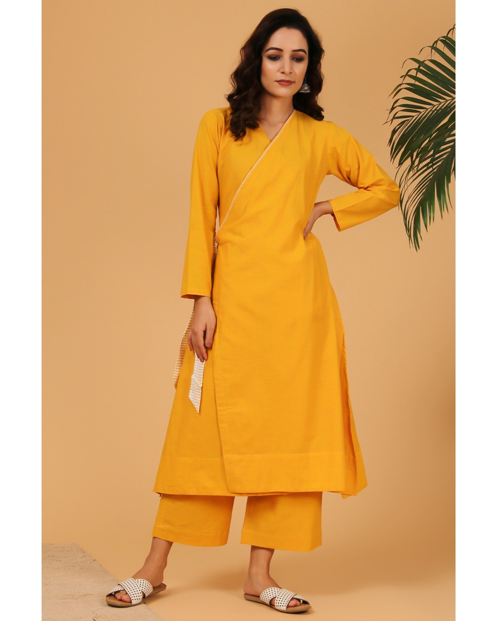 Mustard yellow hand embroidered angrakha kurta