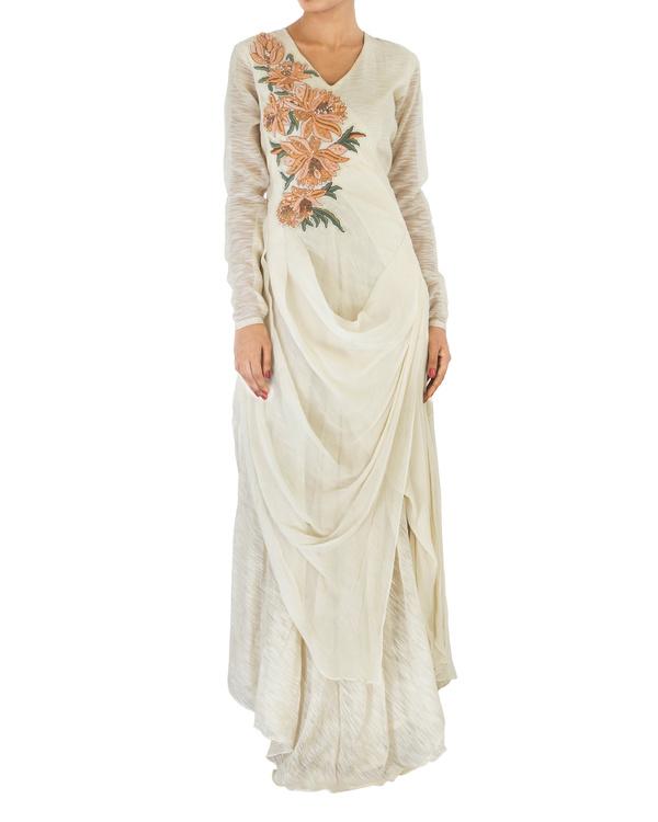 Off white draped chiffon dress