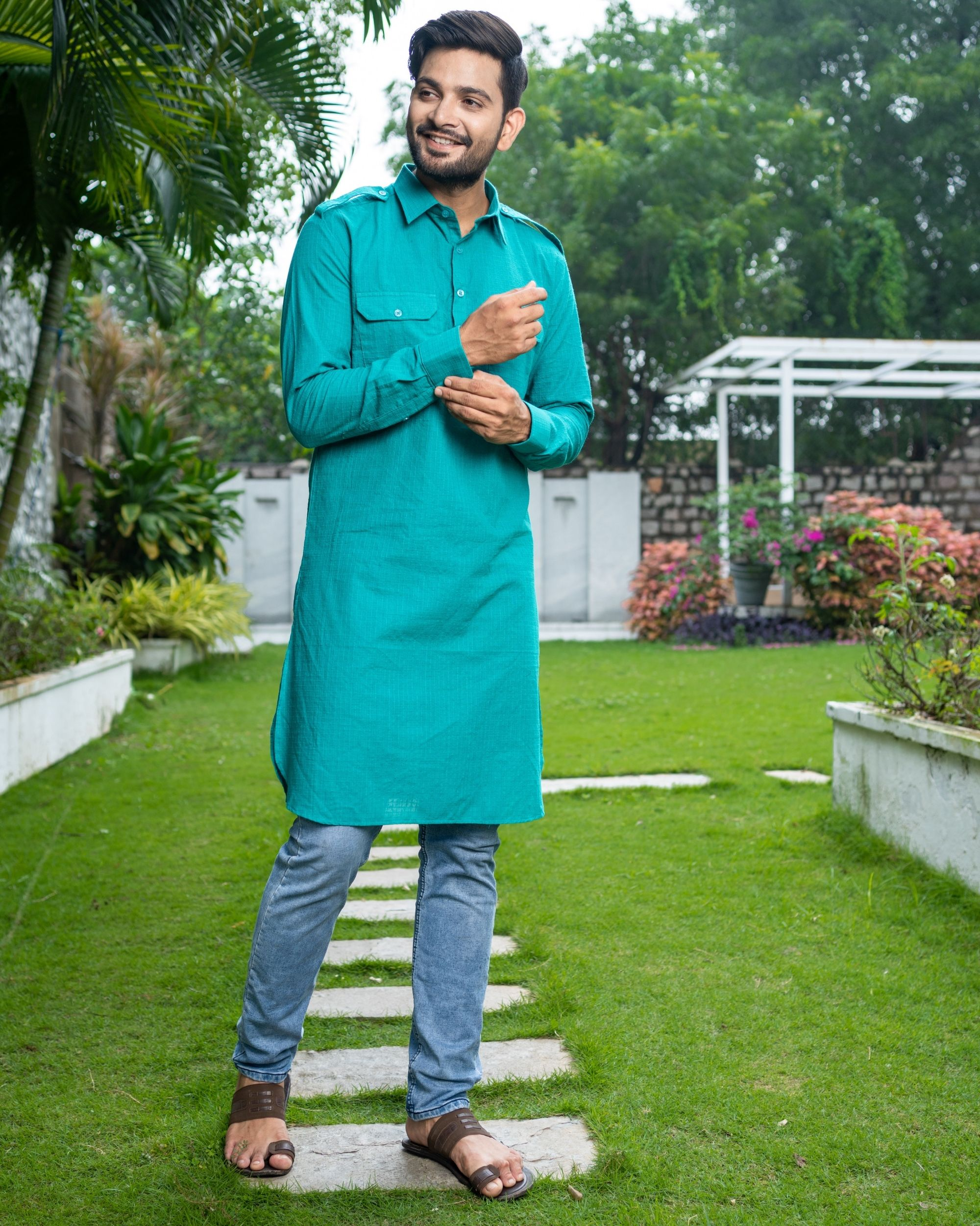 Turquoise checkered pathani kurta