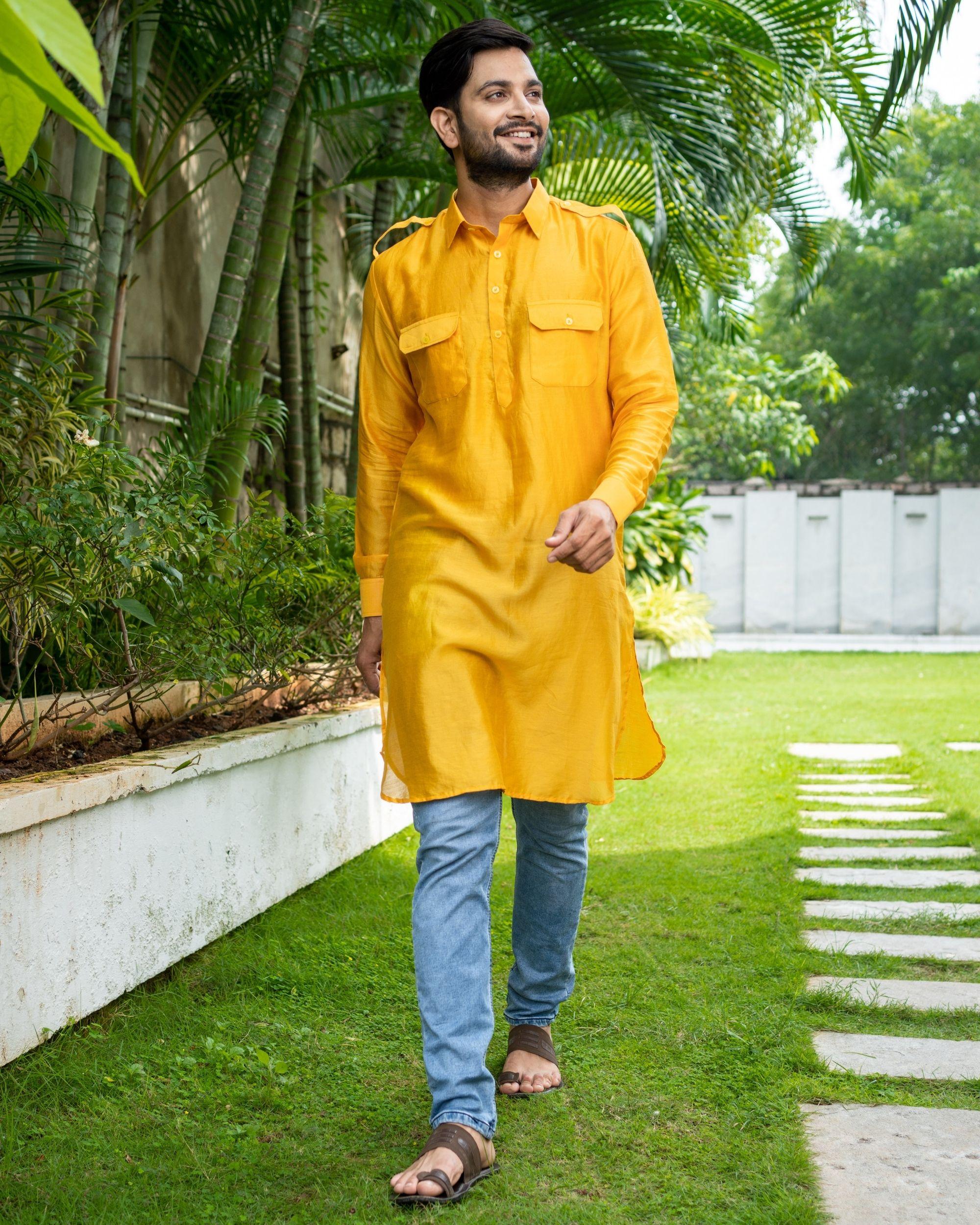 Mustard yellow chanderi pathani kurta