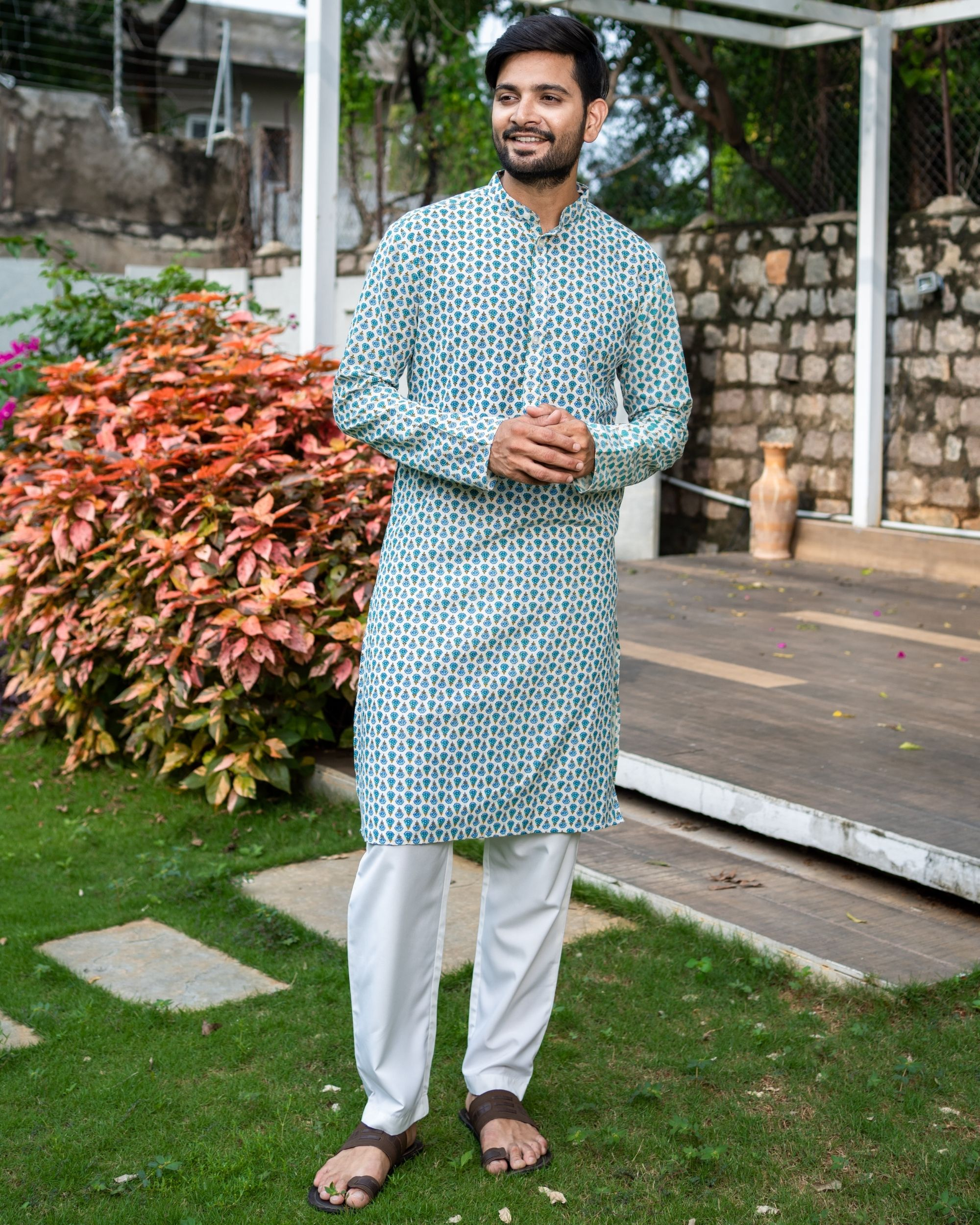Blue and green boota printed kurta with white pyjama - Set Of Two