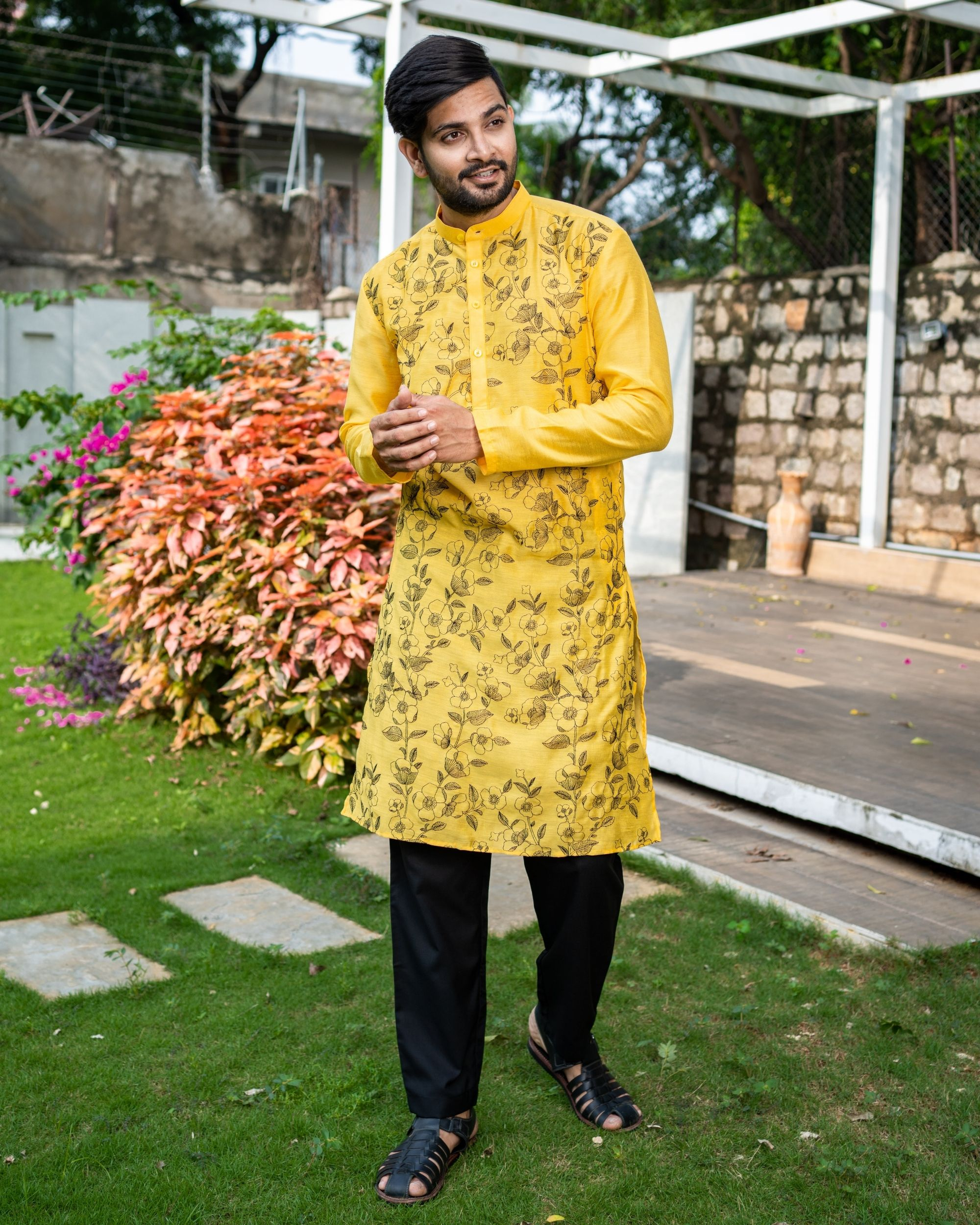 Sunshine yellow floral embroidered kurta with black pyjama - Set Of Two