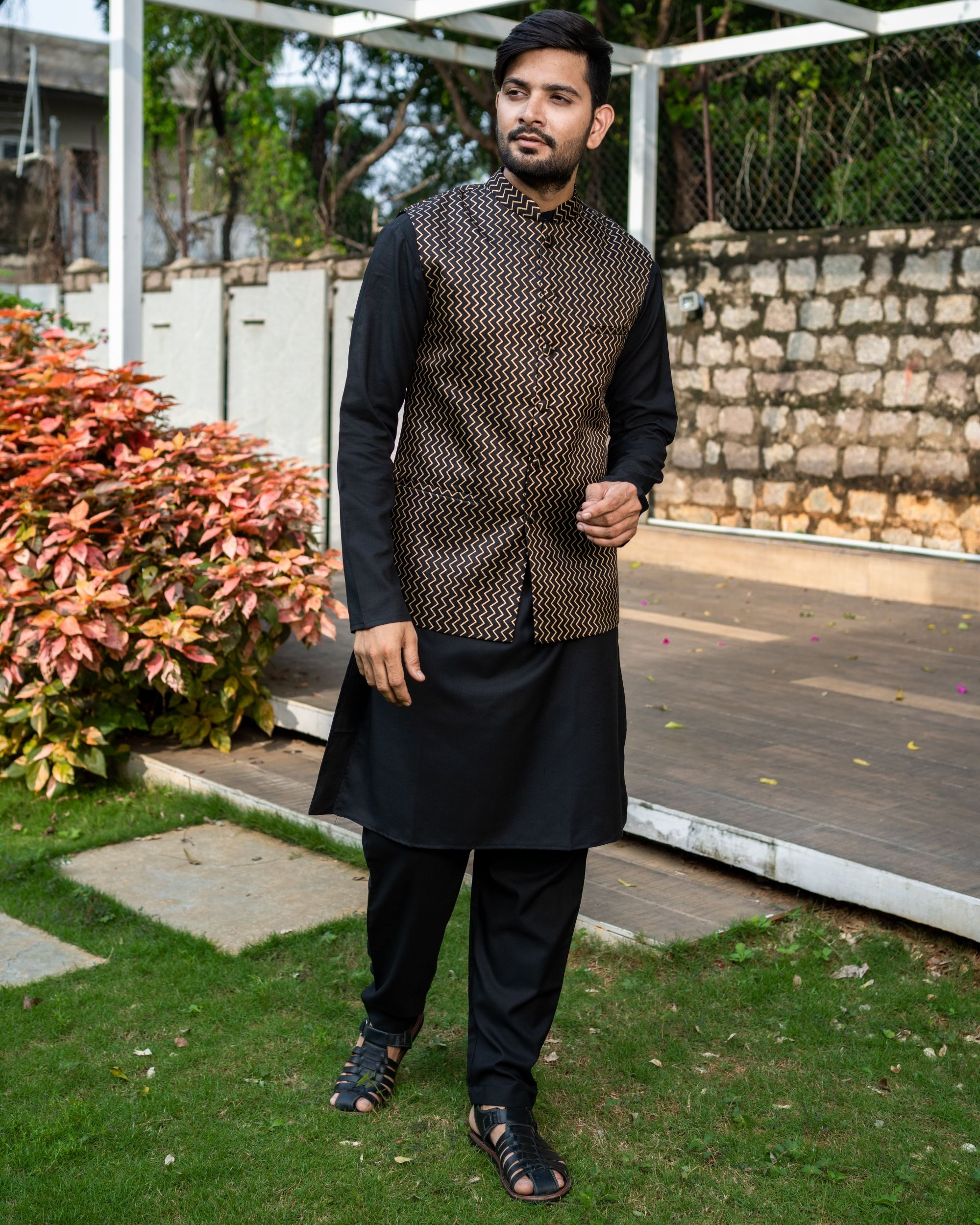 Black chevron printed brocade nehru jacket with black kurta and pyjama - Set Of Three