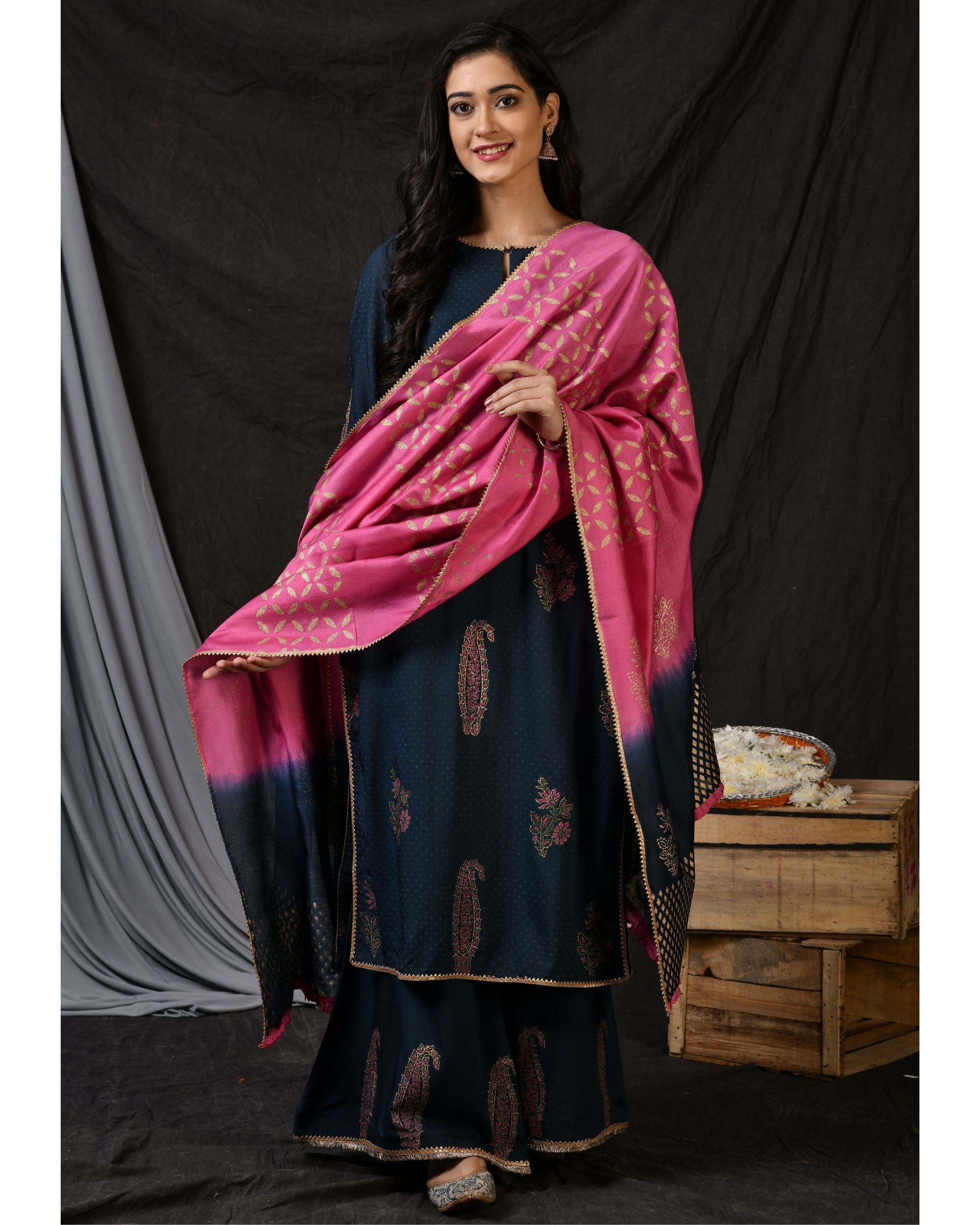 Teal blue floral printed kurta with palazzo and ombre dyed dupatta - Set Of Three