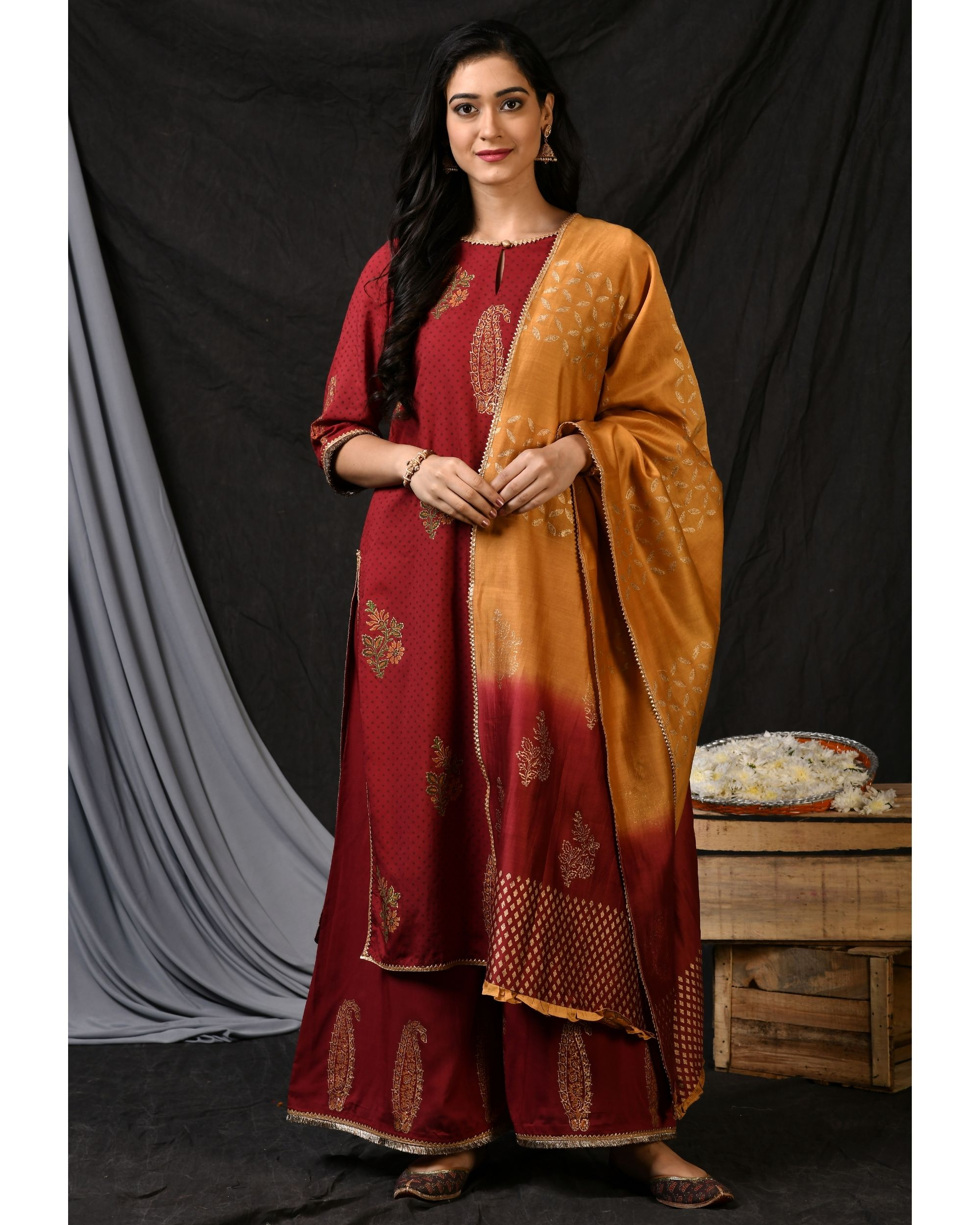 Maroon floral printed kurta with palazzo and ombre dyed dupatta - Set Of Three
