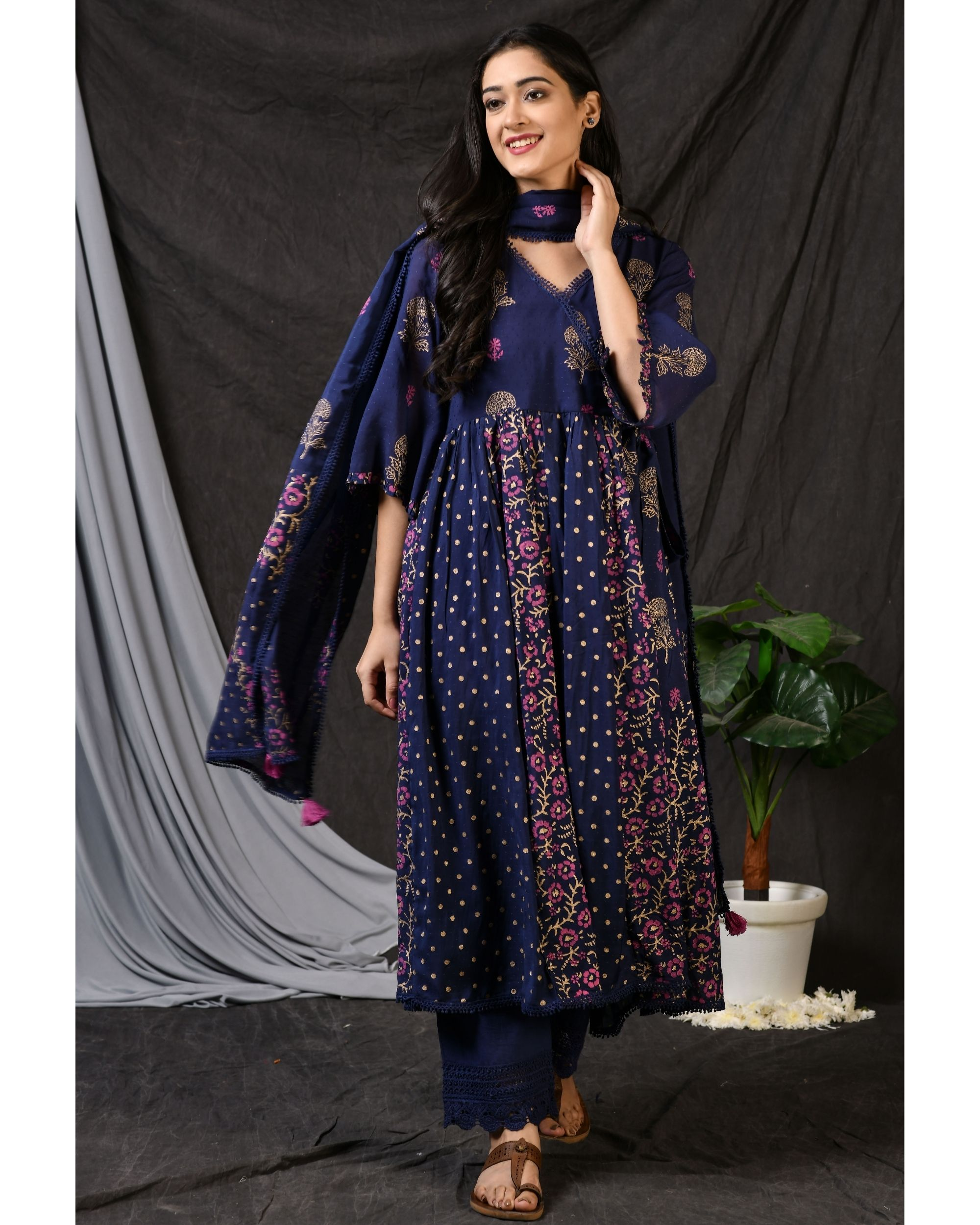 Blue printed gathered anarkali kurta with pants and dupatta - Set Of Three