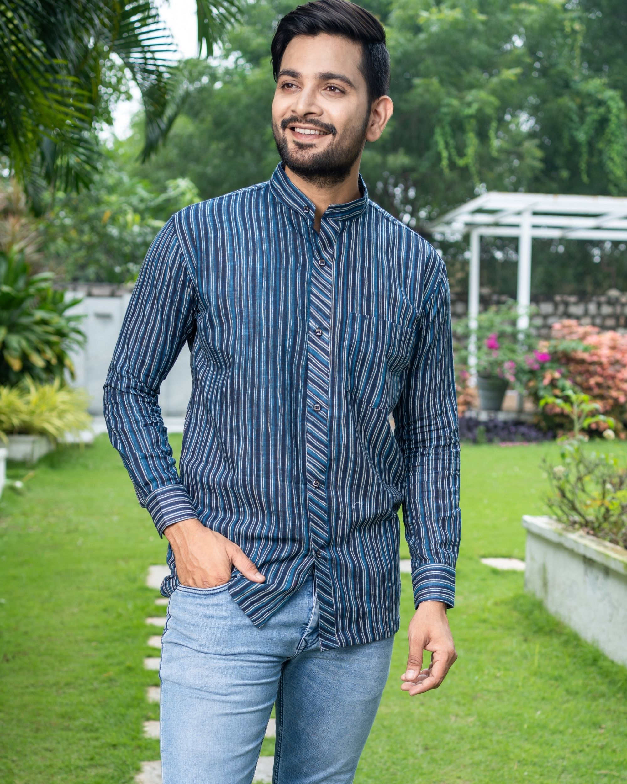 Blue striped printed cotton shirt