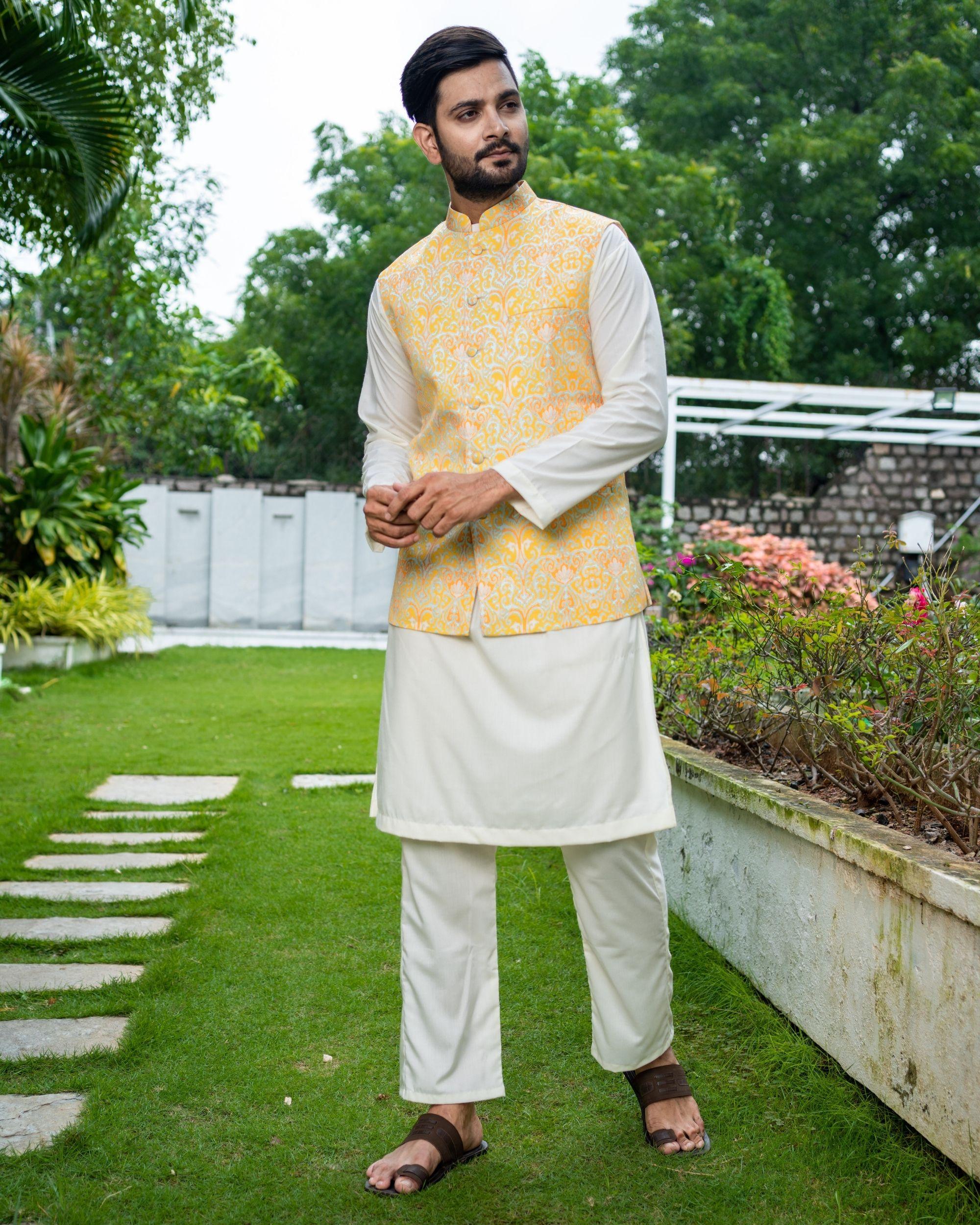 Yellow ikat printed jacket with off white kurta and pyjama - Set Of Three